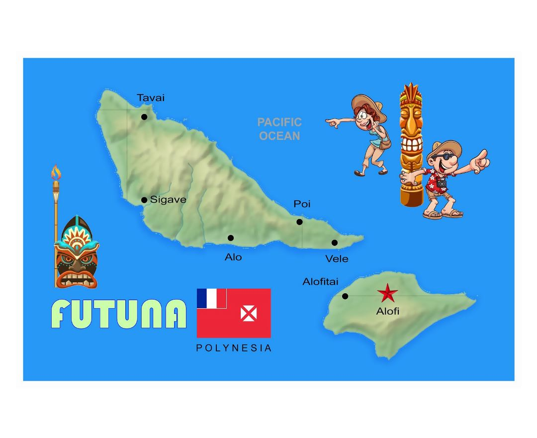 Large elevation map of Futuna with cities