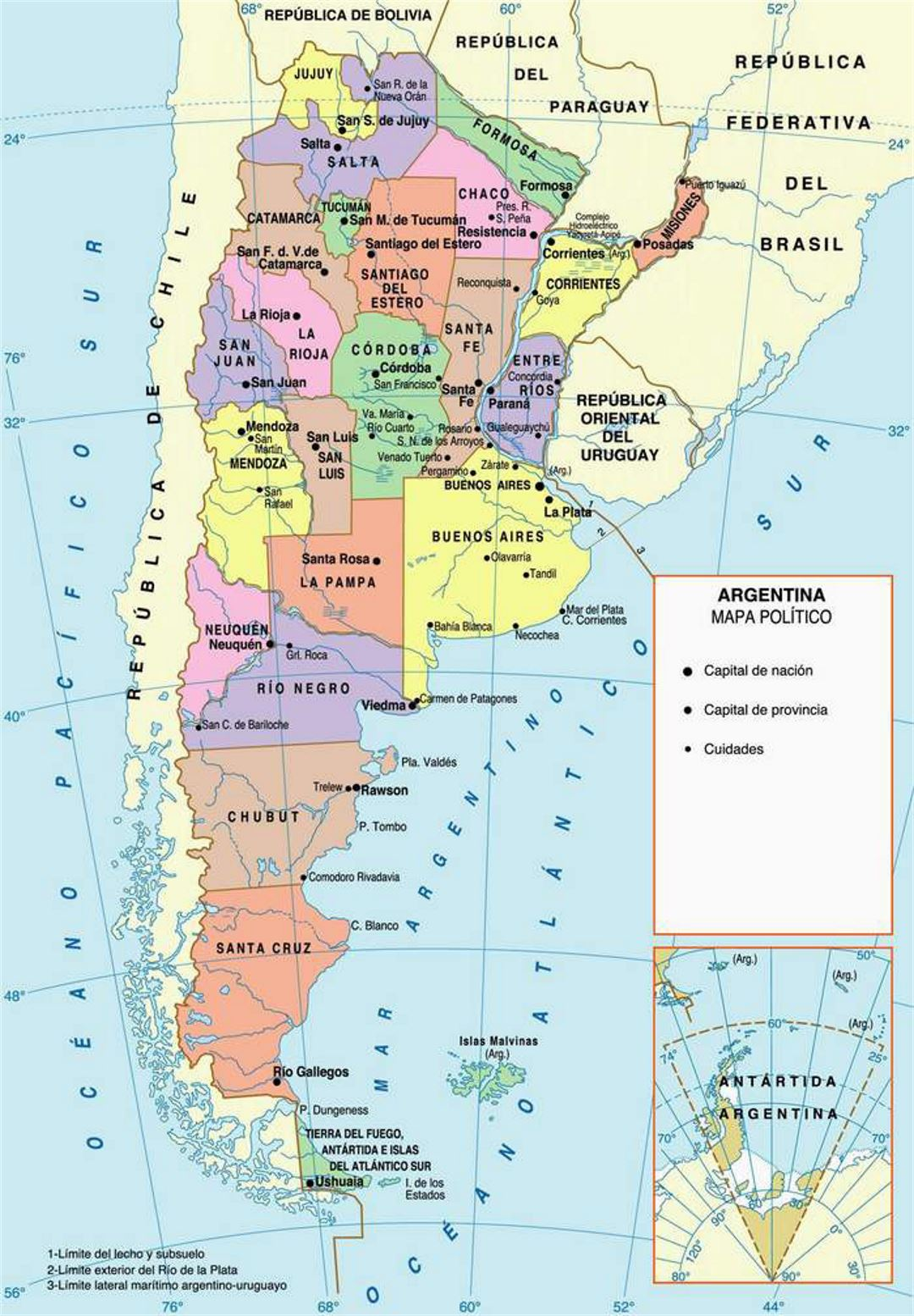 Argentina political and administrative map | Argentina | South