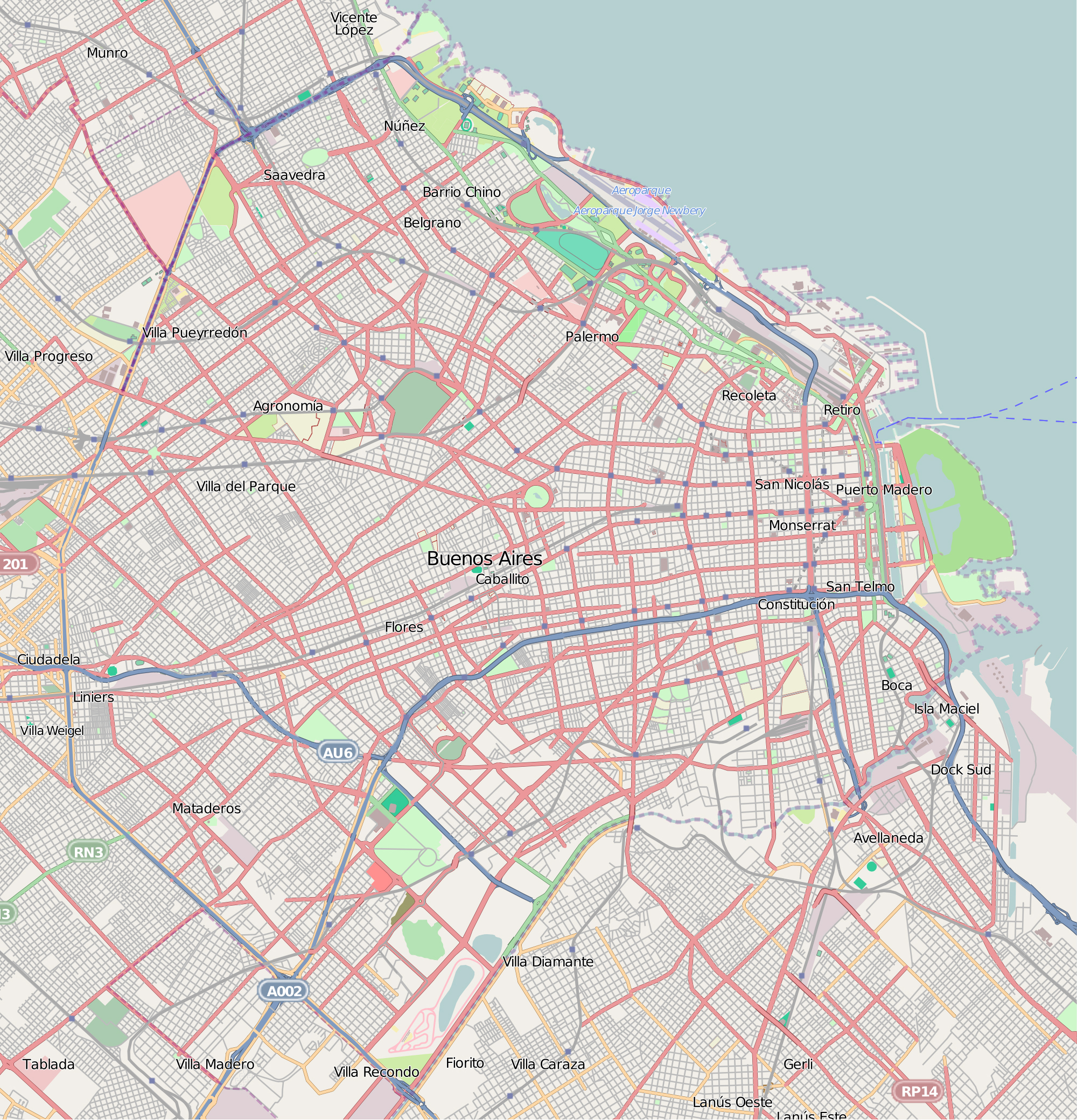 Detailed Road Map Of Buenos Aires Buenos Aires Argentina - Argentina map detailed
