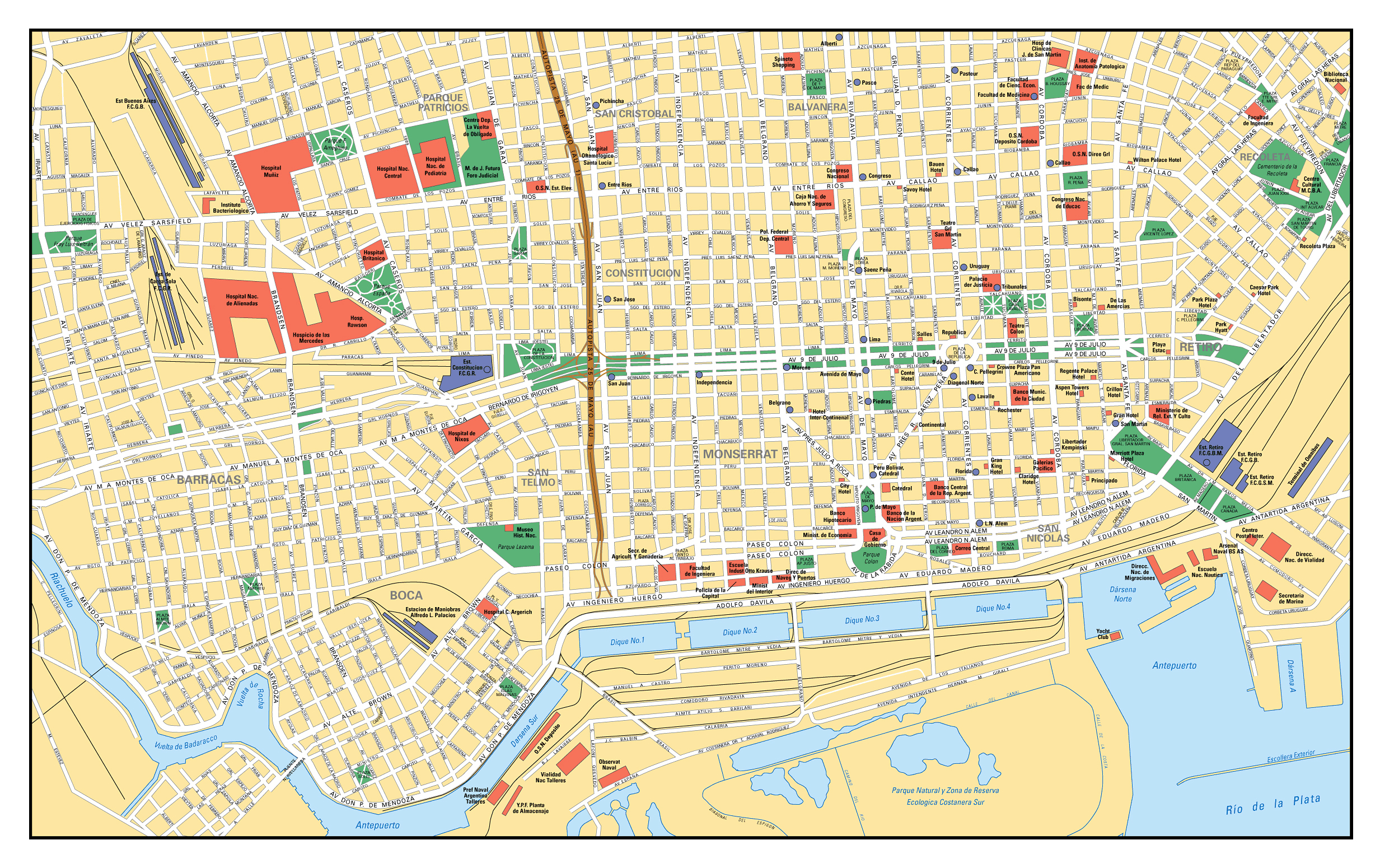 Large road map of central part of Buenos Aires Buenos Aires