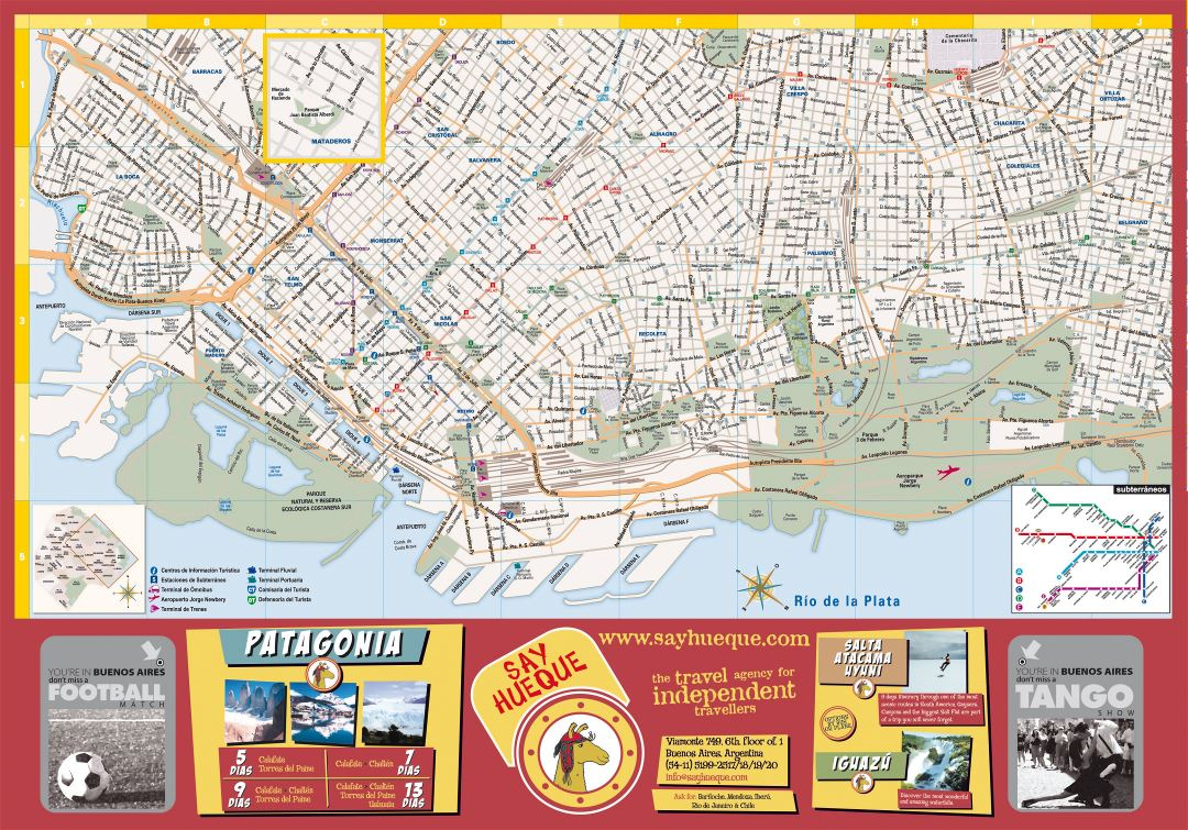 Large tourist map of central part of Buenos Aires city