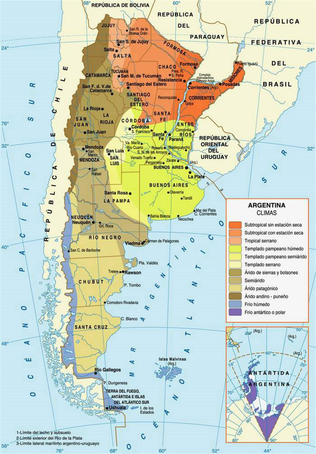 Climate Map Of Argentina Argentina South America Mapsland - Map argentina