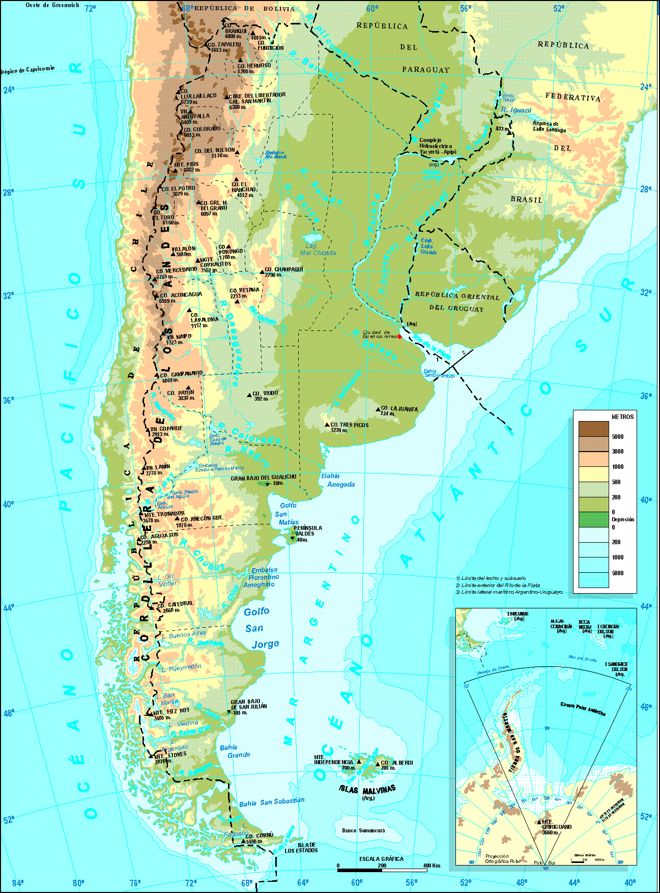 Detailed physical map of Argentina | Argentina | South America ...