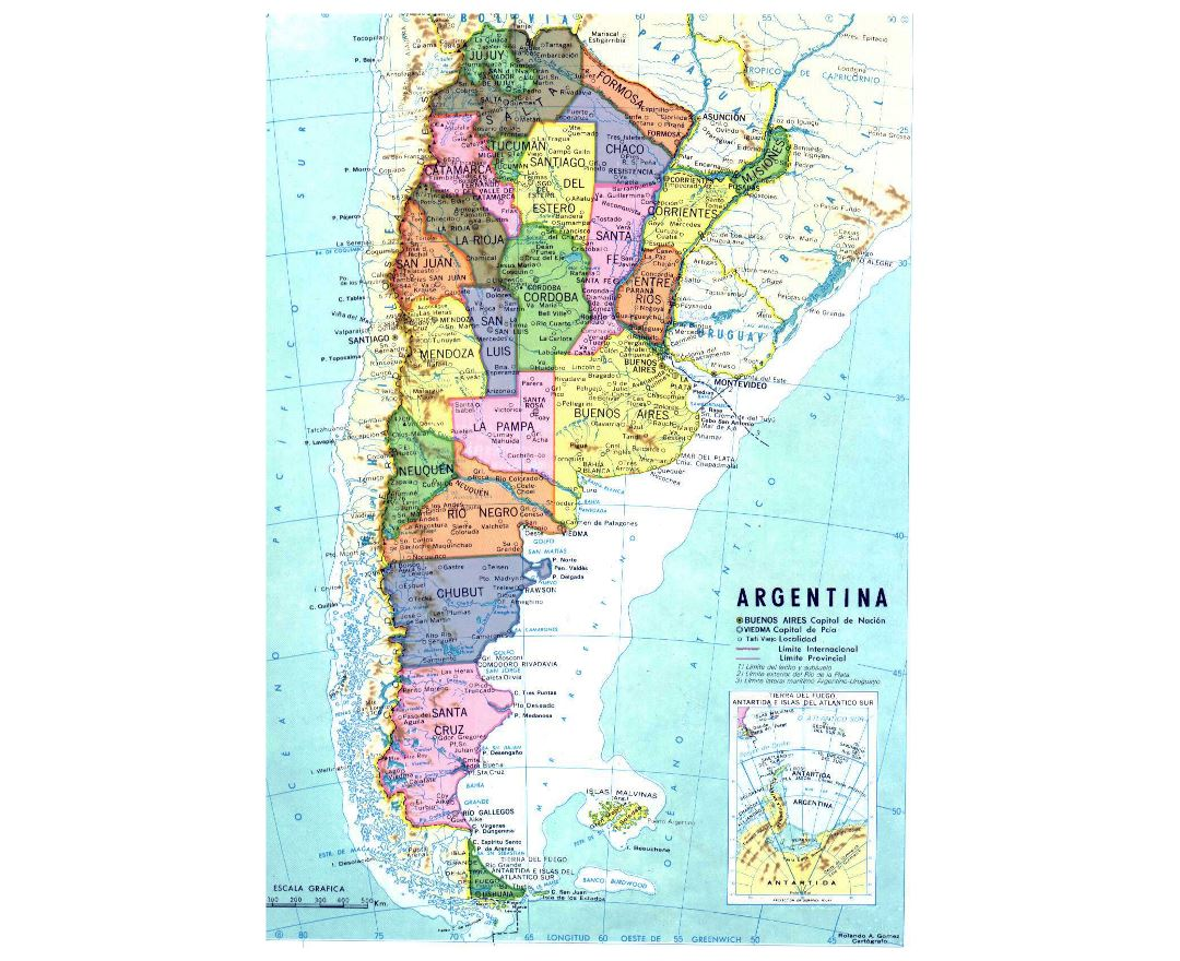Detailed political and administrative map of Argentina