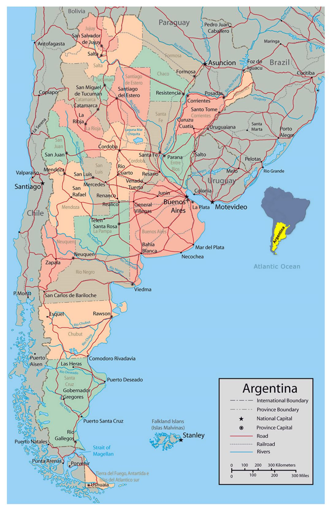 Detailed political and administrative map of Argentina with major