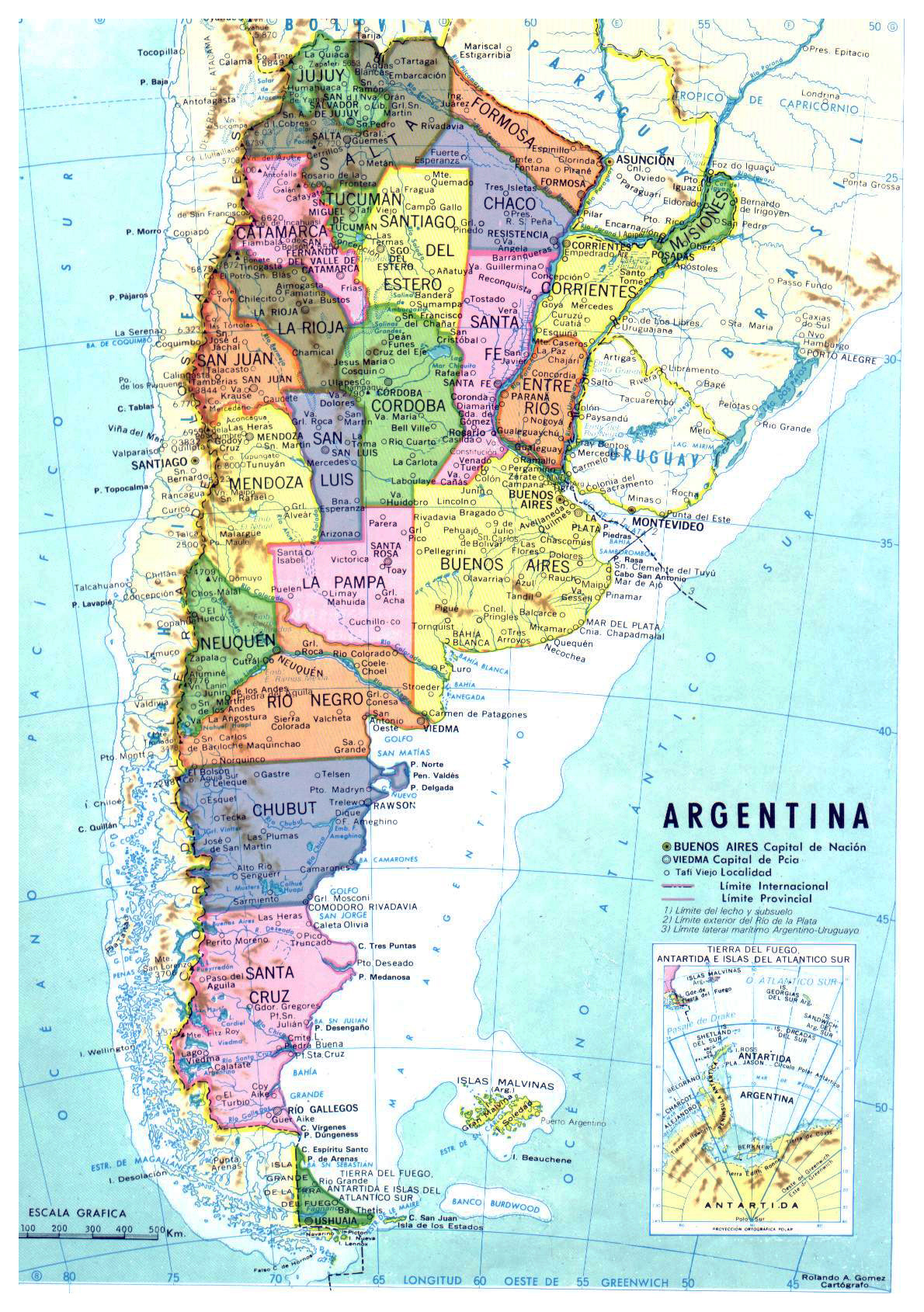 Detailed political and administrative map of Argentina Argentina