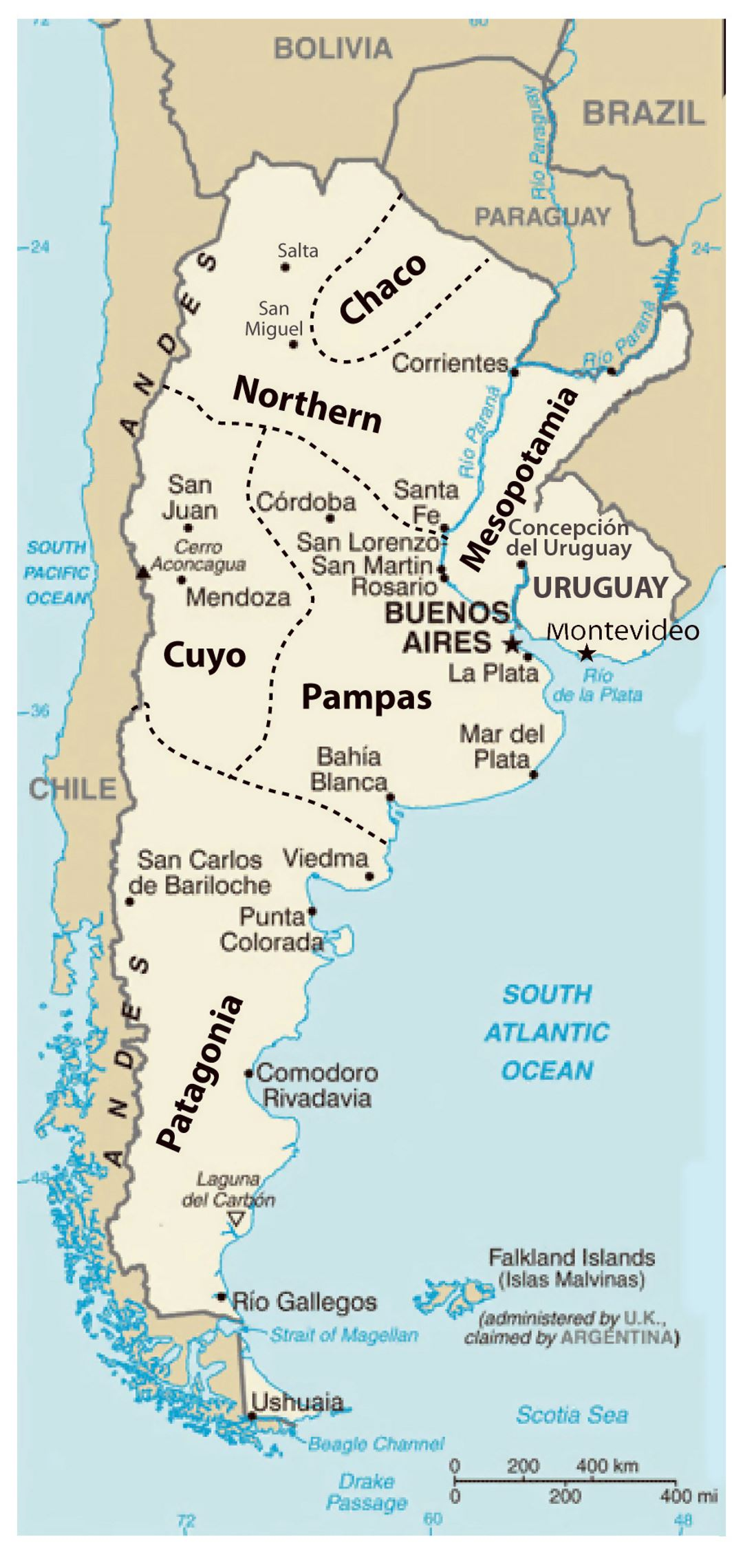 Detailed Regions Map Of Argentina Argentina South America - Argentina map detailed