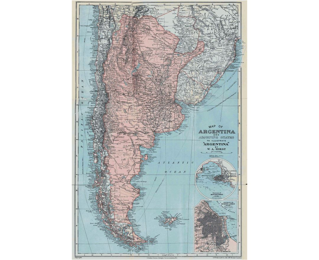 Large detailed old map of Argentina - 1900