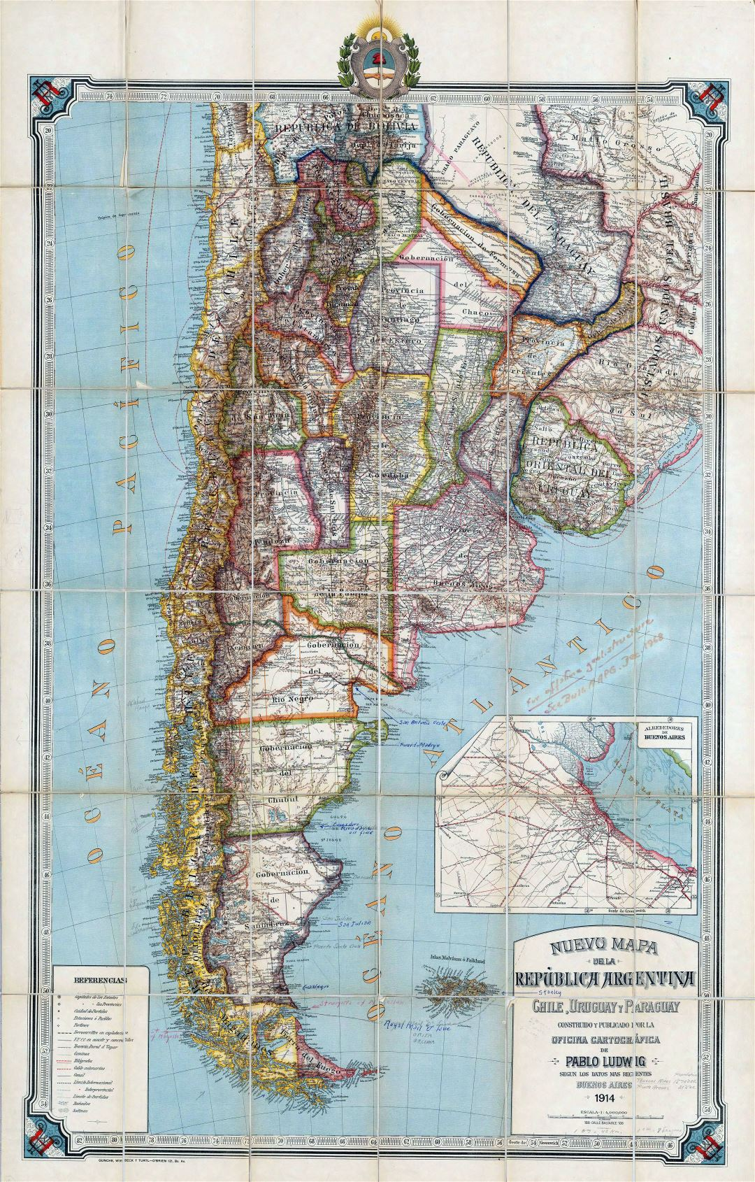 Large detailed old political map of Republic of Argentina, Chile, Uruguay and Paraguay with relief - 1914