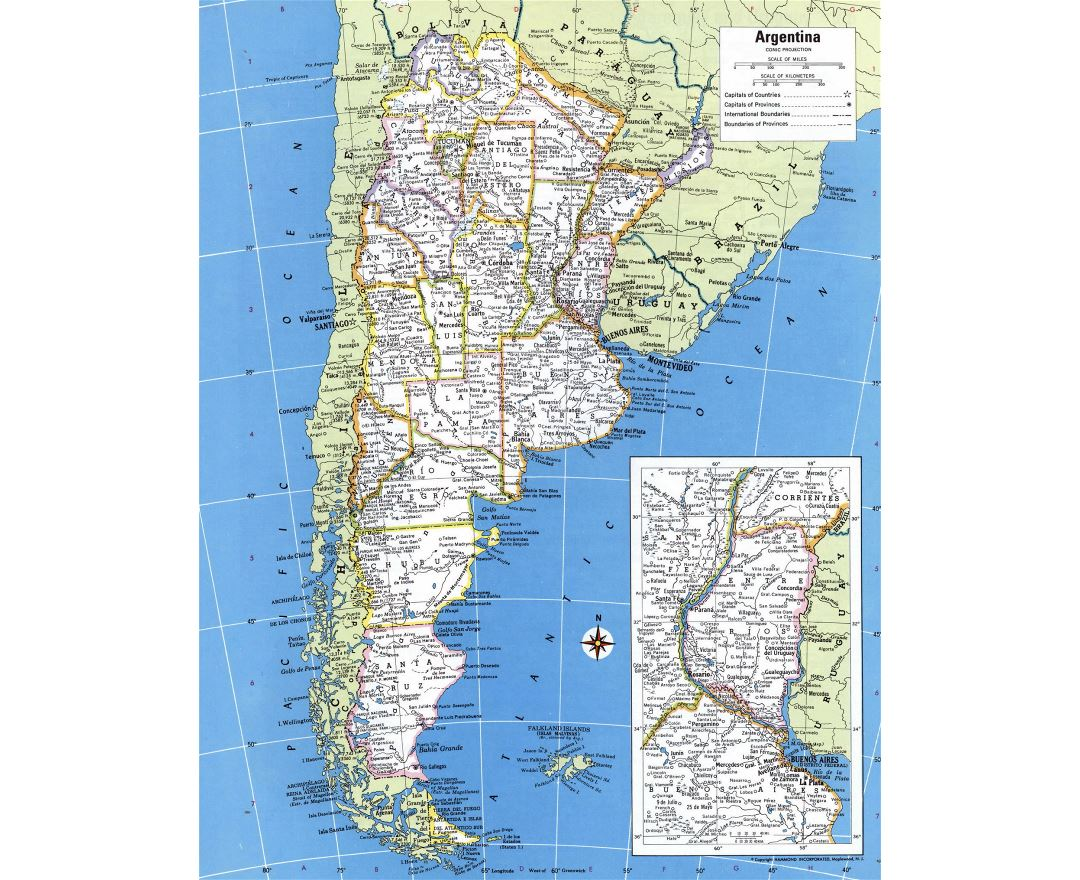 Large detailed political and administrative map of Argentina with all cities