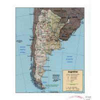 Large physical map of Argentina with major cities ...