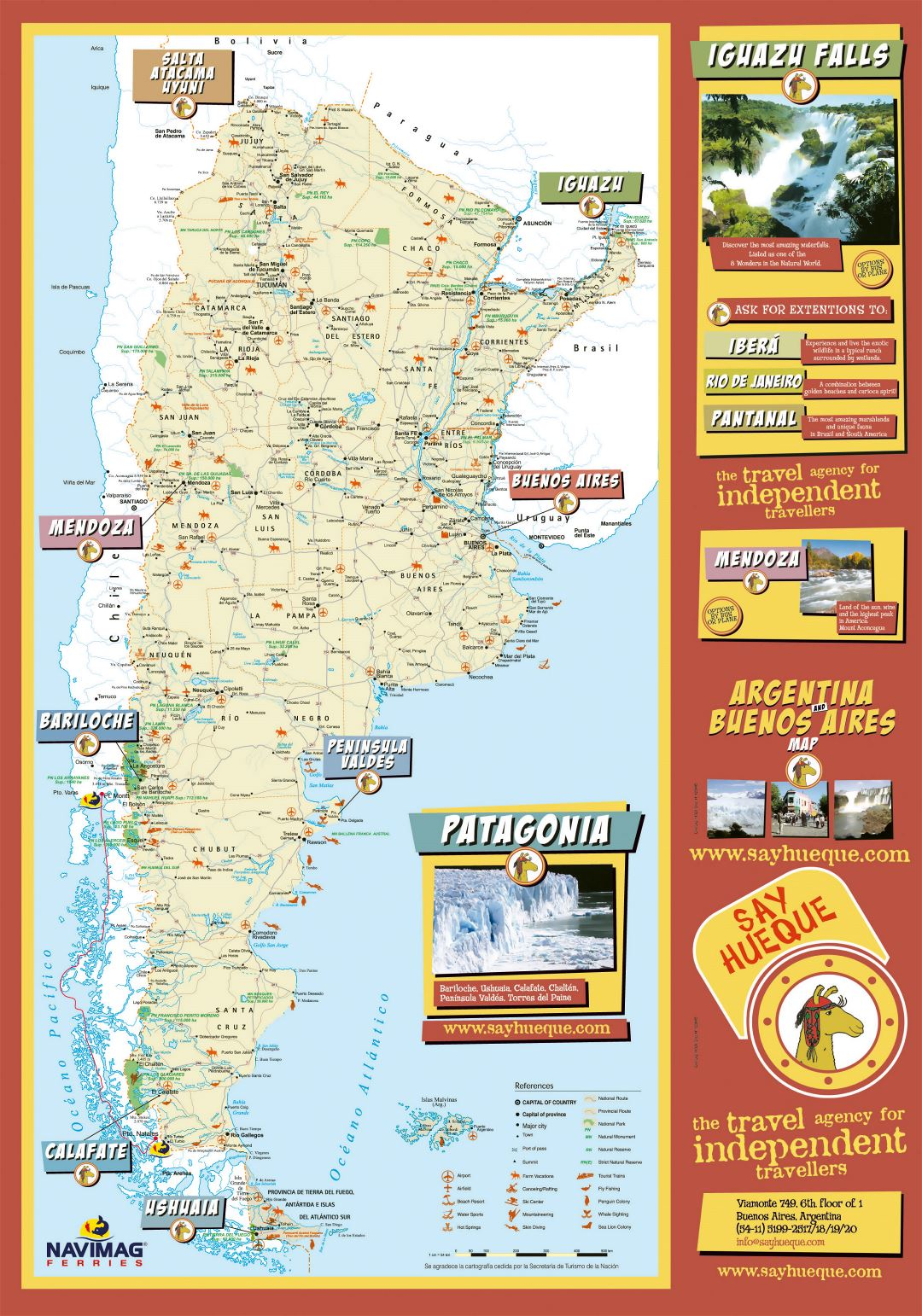 Large detailed tourist map of Argentina