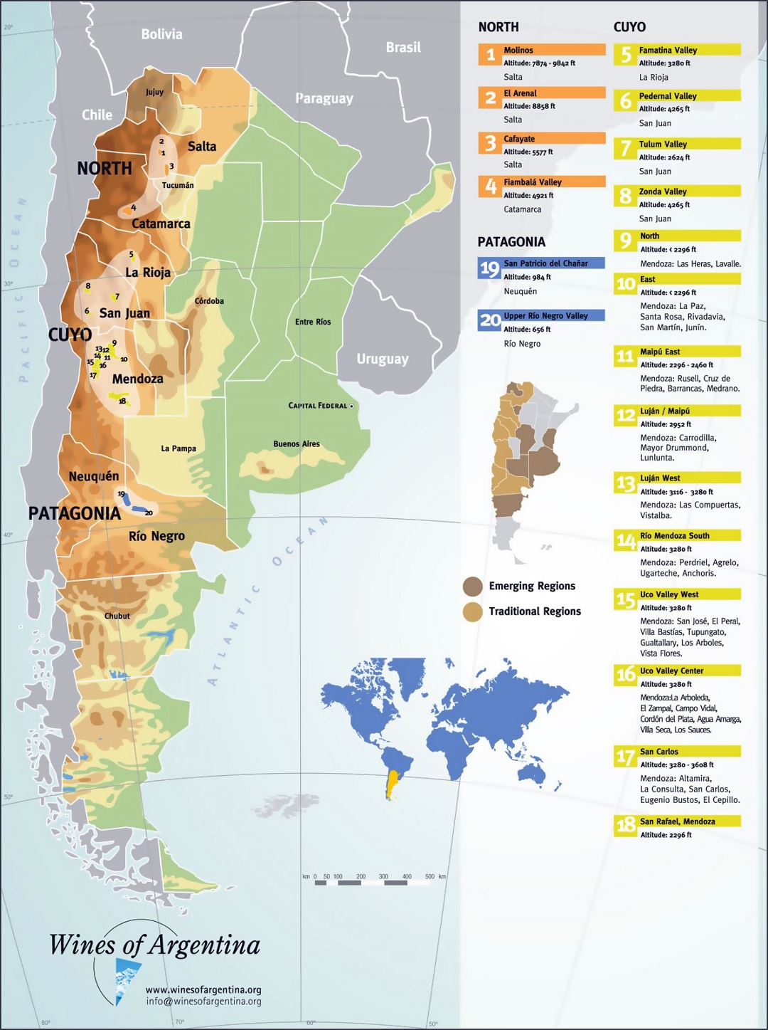 Large detailed wine regions map of Argentina