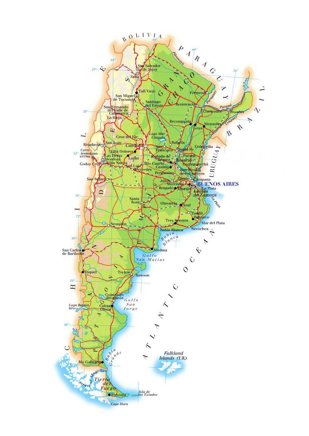 Large elevation map of Argentina with roads, cities and airports