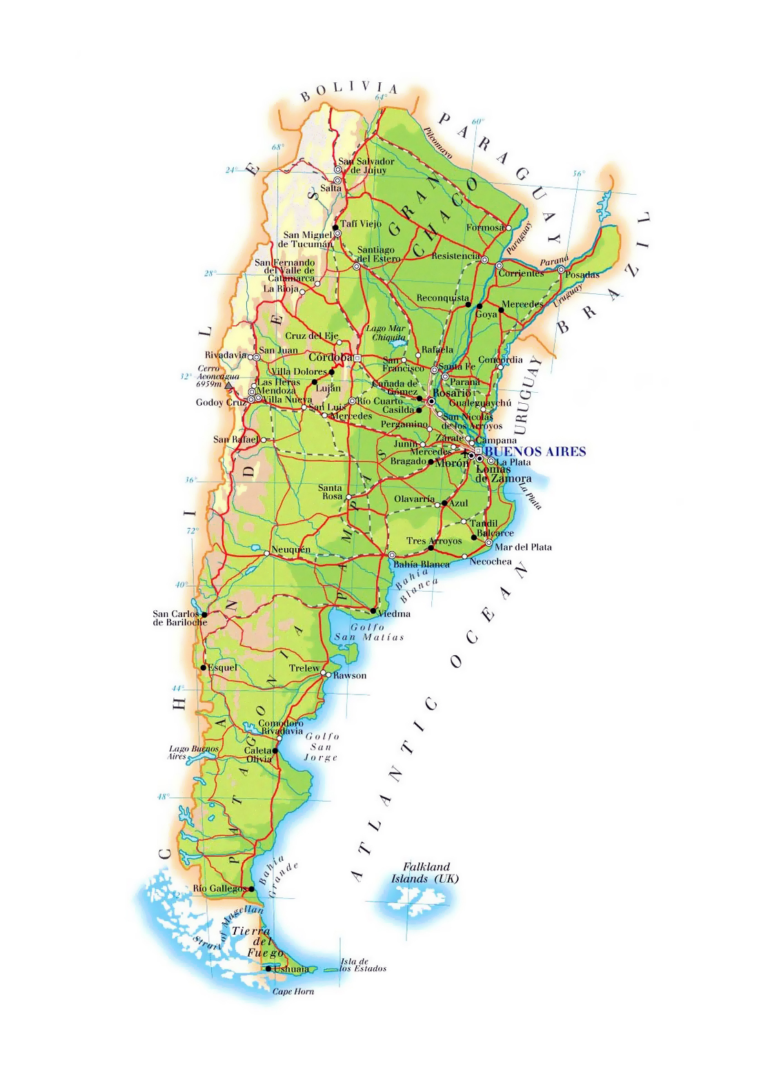 Large elevation map of Argentina with roads cities and airports