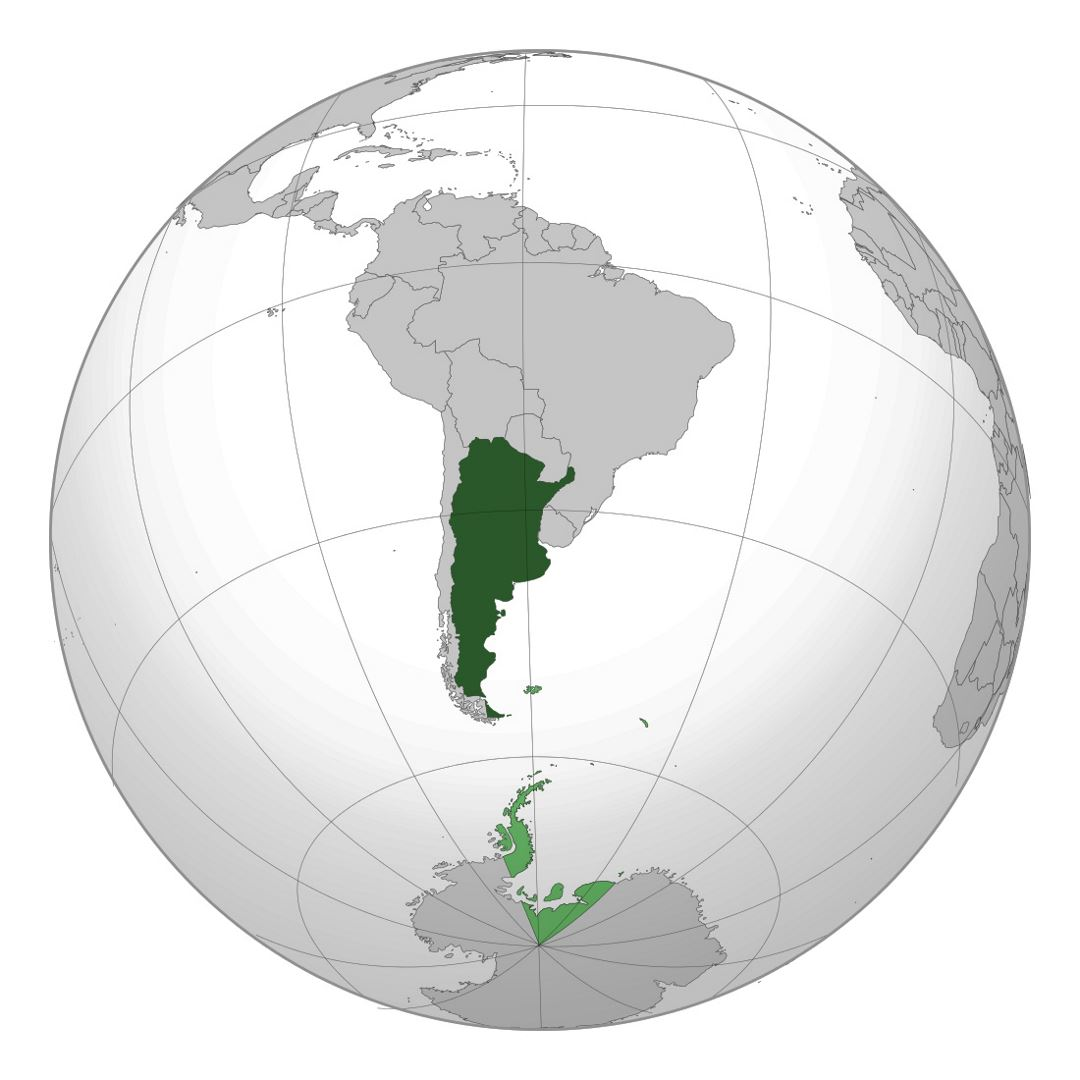Large location map of Argentina in South America