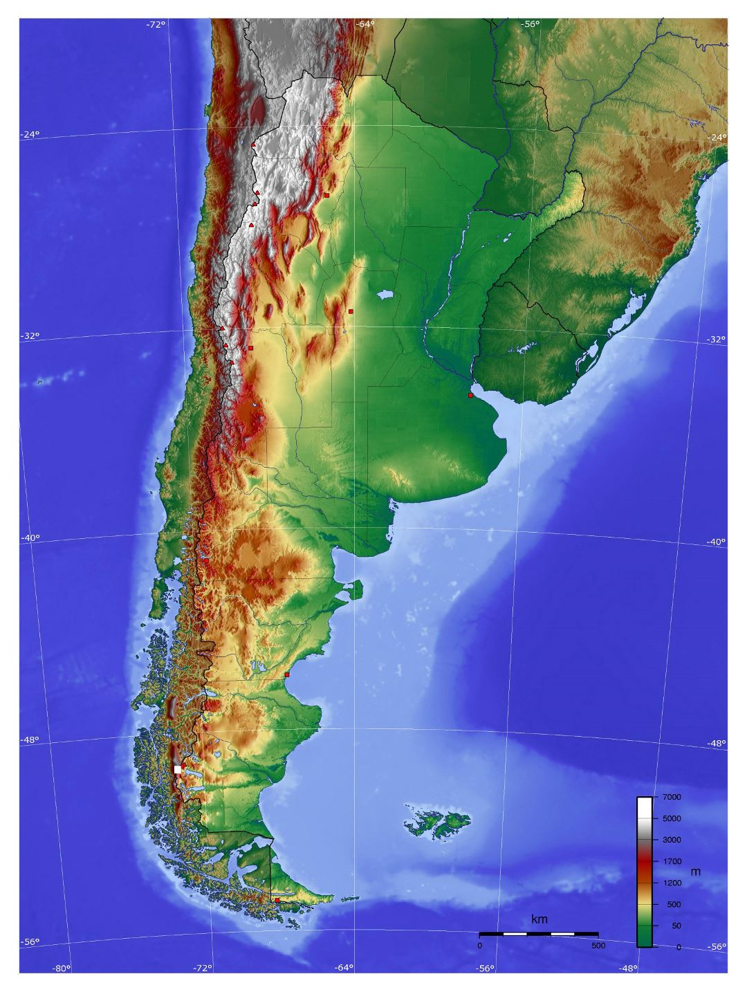 Large physical map of Argentina