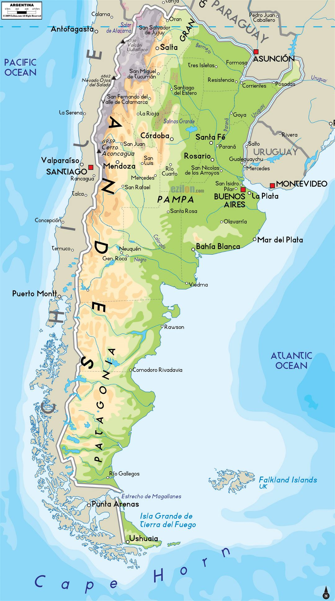 Large physical map of Argentina with major cities