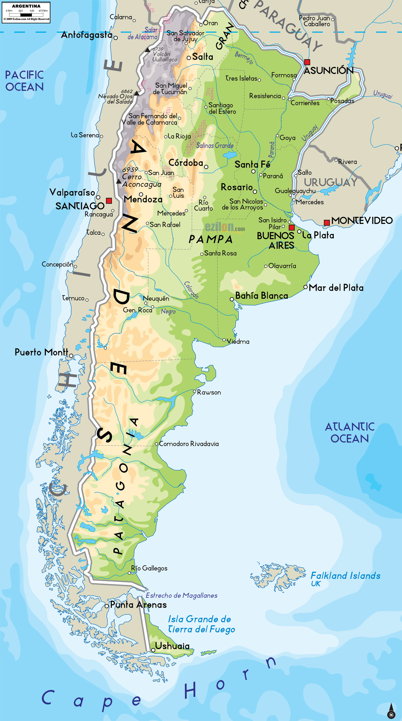 Large Physical Map Of Argentina With Major Cities Argentina - Argentina map cities