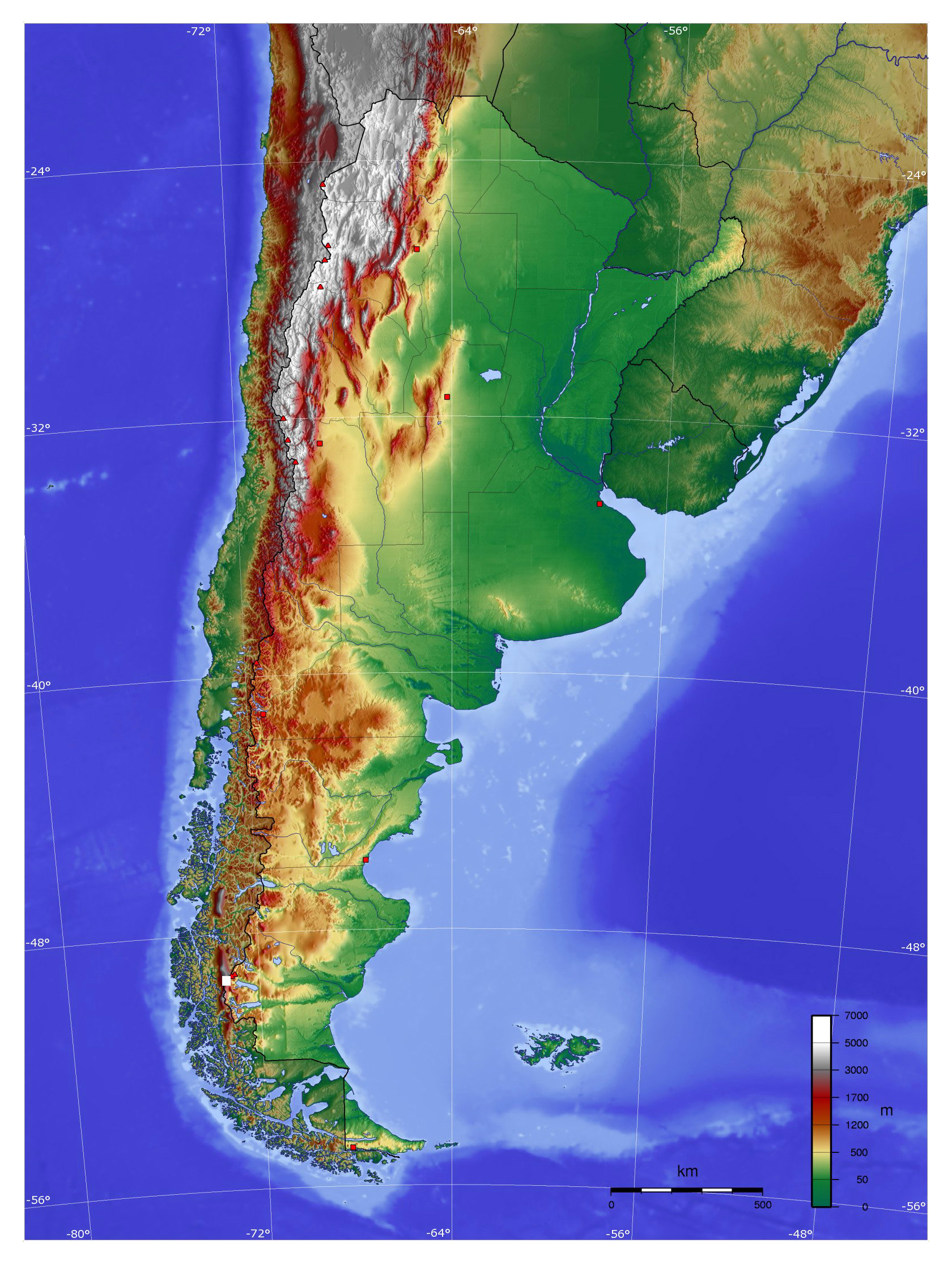 Large physical map of Argentina | Argentina | South America ...