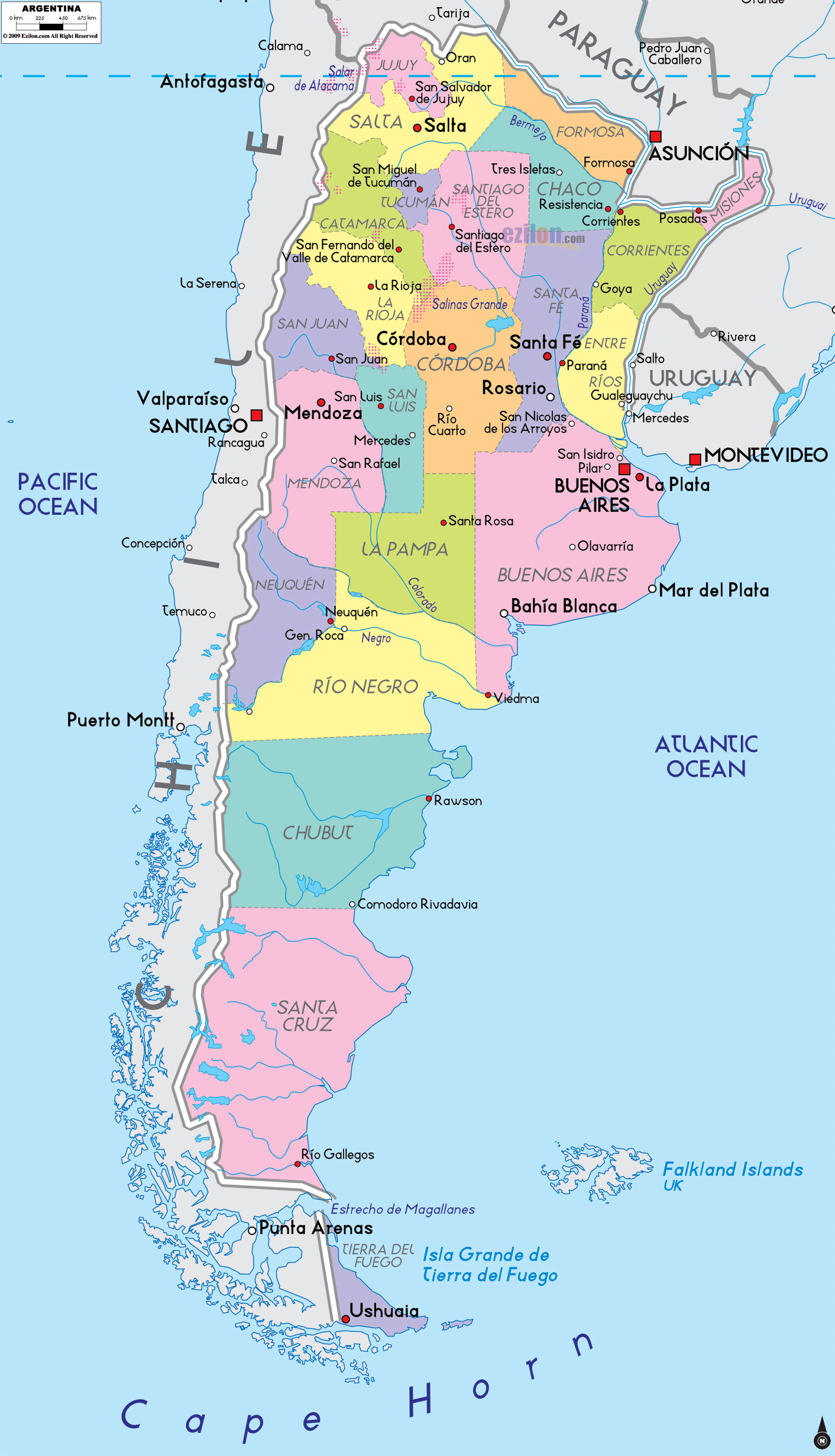 Large political and administrative map of Argentina with major