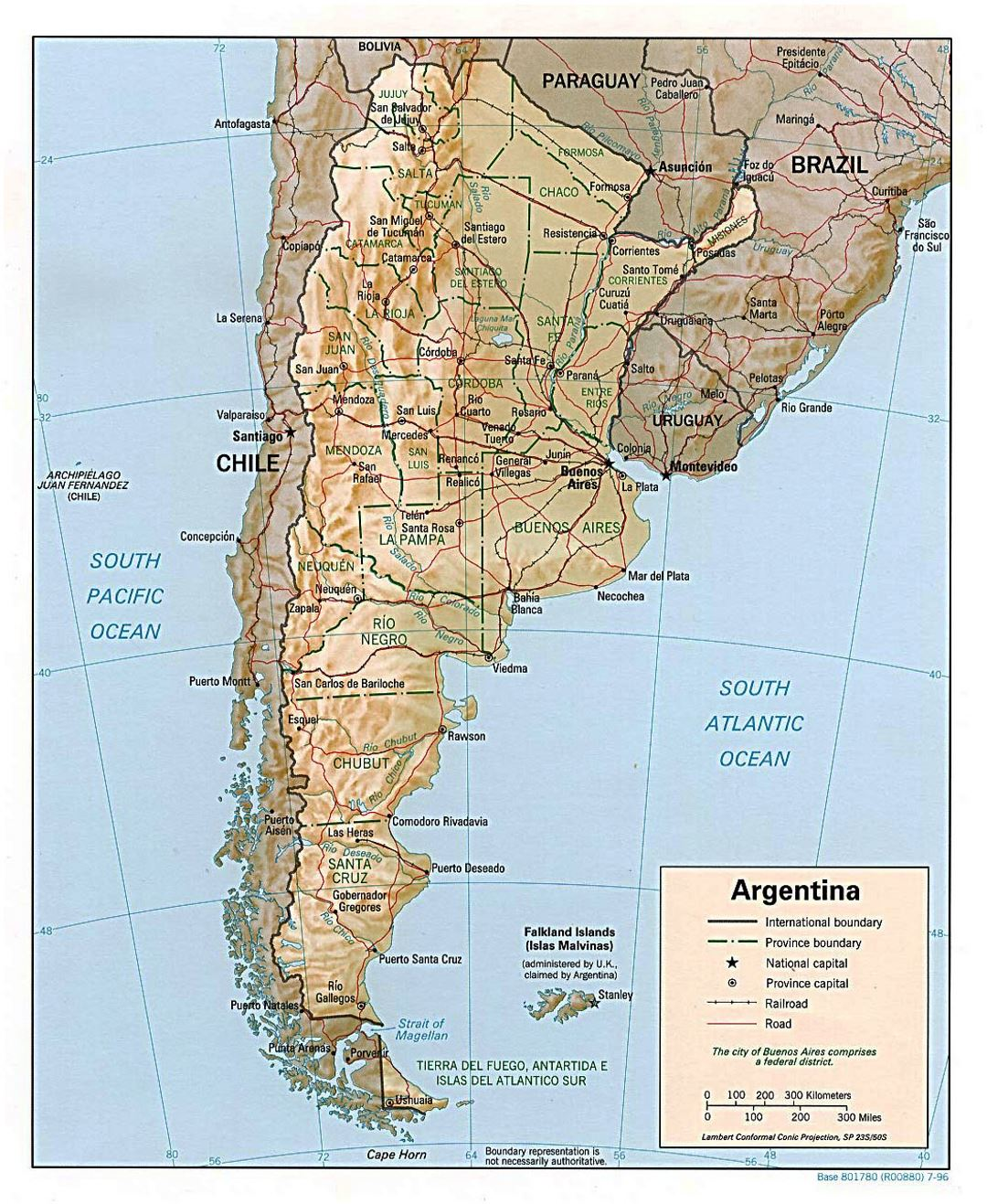 Large political and administrative map of Argentina with relief, roads and major cities - 1996