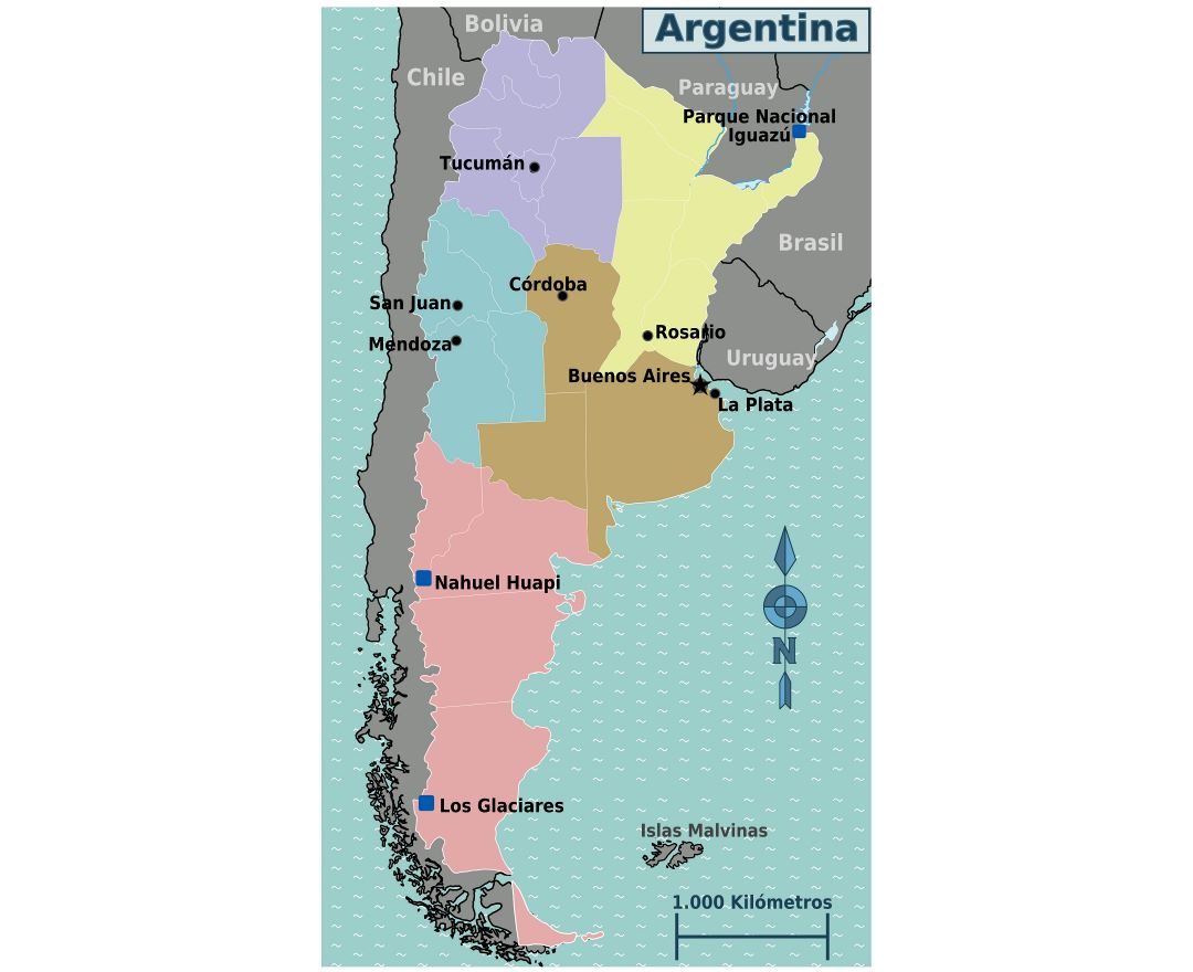 Large regions map of Argentina