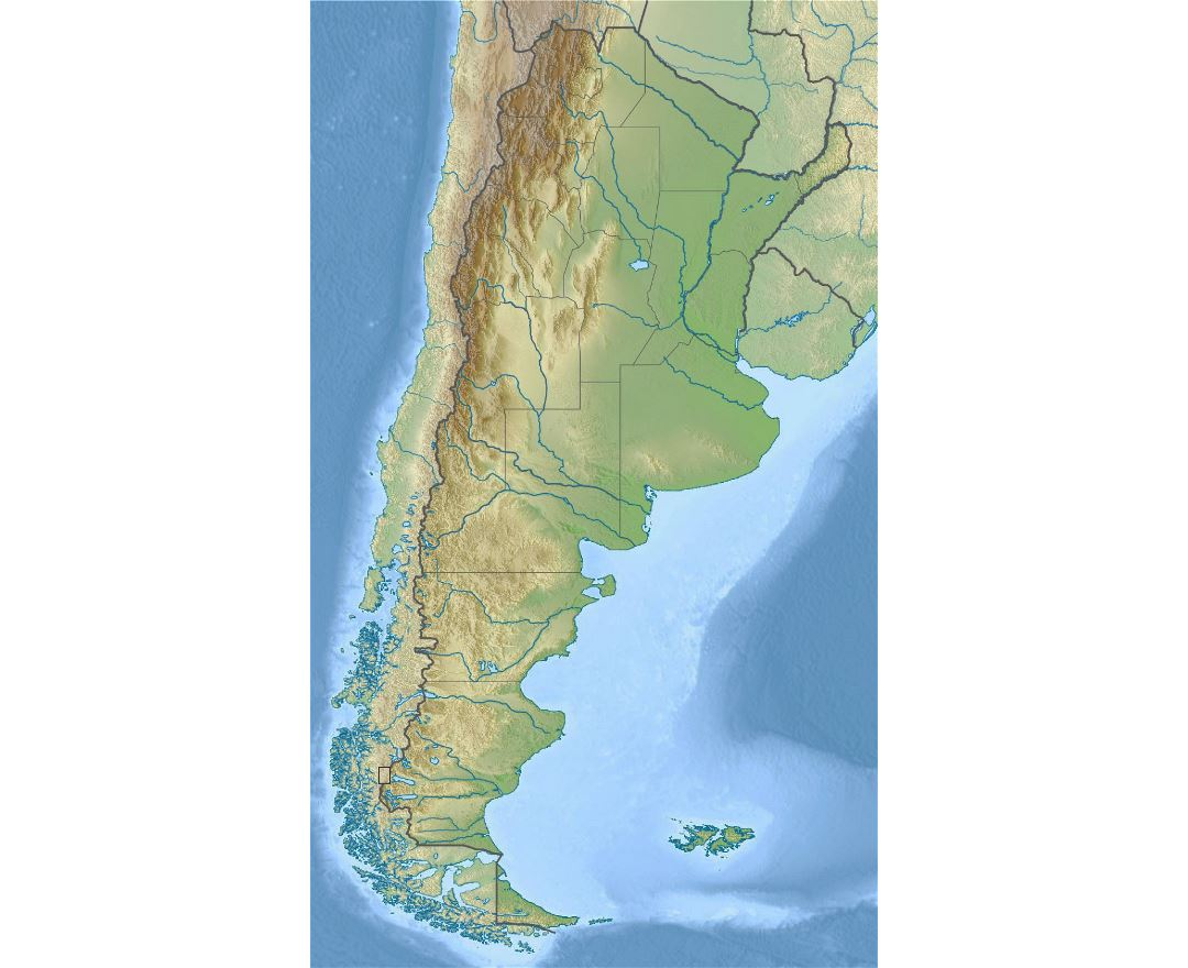 Large relief map of Argentina