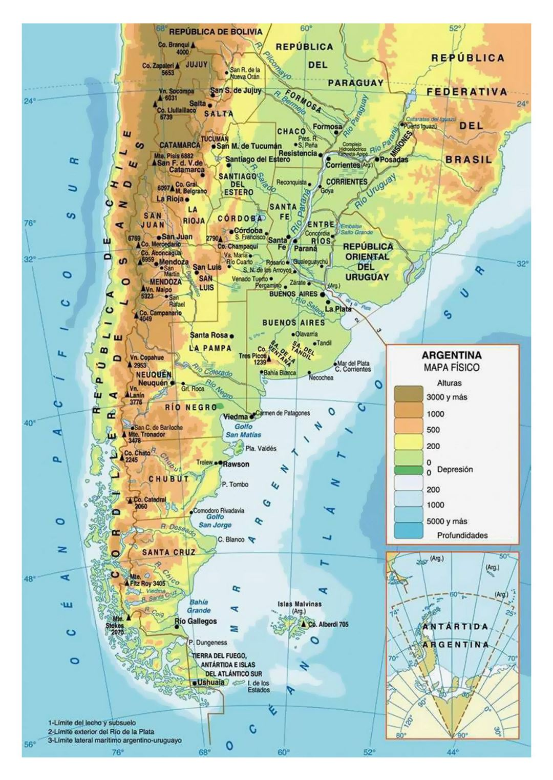 Physical map of Argentina with cities Argentina South America