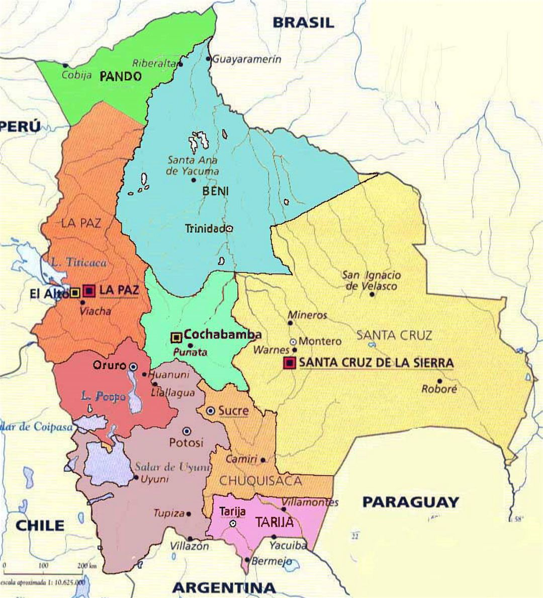 Administrative map of Bolivia with major cities | Bolivia ... on peru map, colombia map, antigua map, croatia map, algeria map, eritrea map, americas map, angola map, la paz map, mexico map, cameroon map, tahiti map, argentina map, buenos aires map, czech republic map, bosnia map, uae map, canada map, ecuador map, cuba map, brazil map, aruba map, egypt map, el salvador map, oman map, world map, chile map, japan map, andes mountains map, austria map, benin map, trinidad map, china map, spain map, bulgaria map,