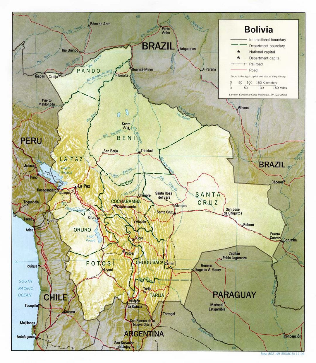 Detailed political and administrative map of Bolivia with relief, roads and major cities - 1993