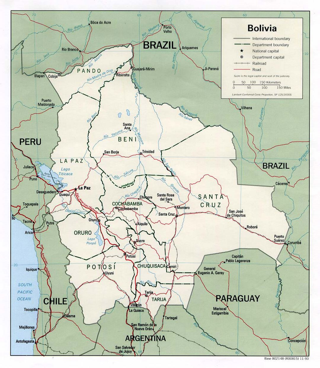 Detailed political and administrative map of Bolivia with roads and major cities - 1993