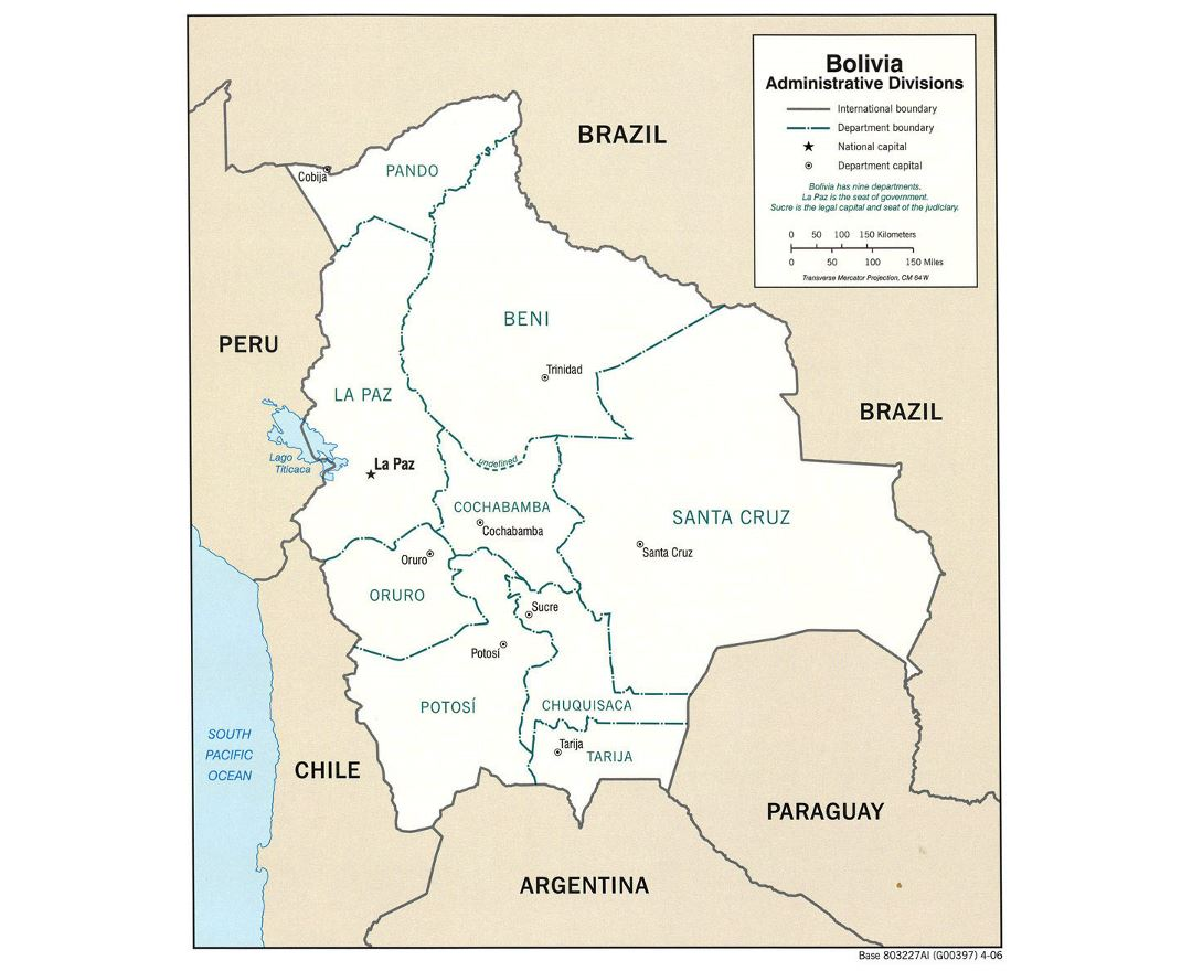Large administrative divisions map of Bolivia with major cities - 2006