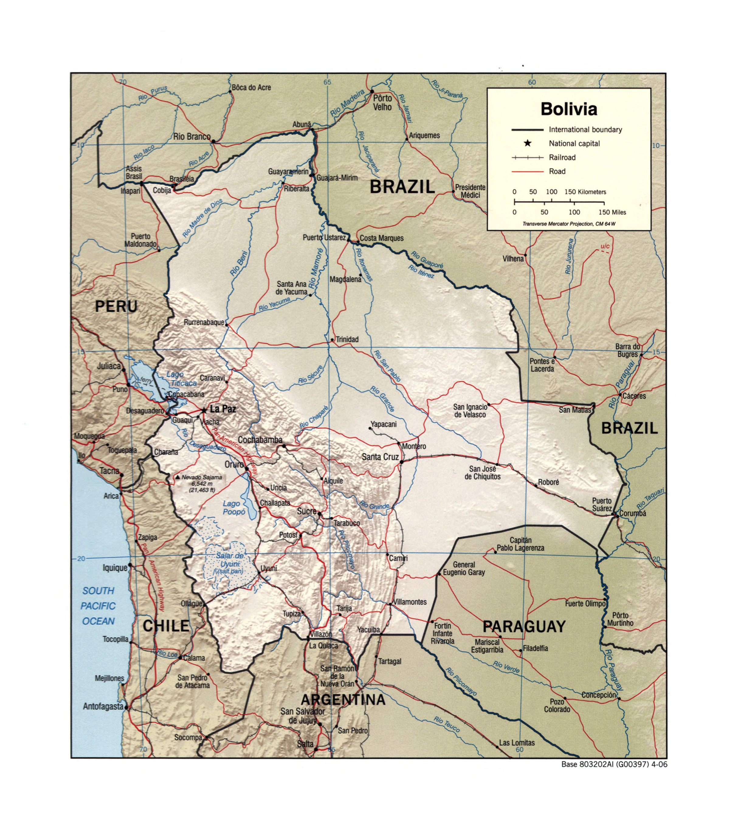 Large detailed political map of Bolivia with relief, rivers ...