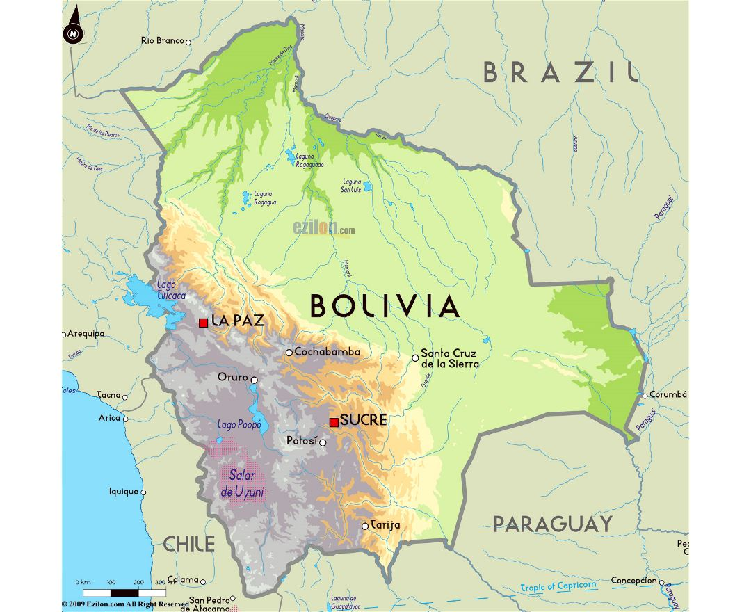 Large physical map of Bolivia with major cities