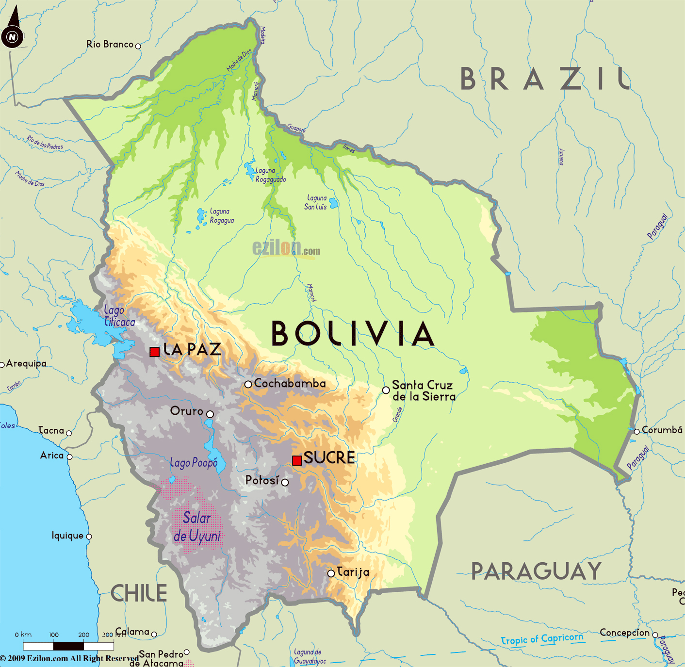 Large Physical Map Of Bolivia With Major Cities Bolivia South - Bolivia cities map