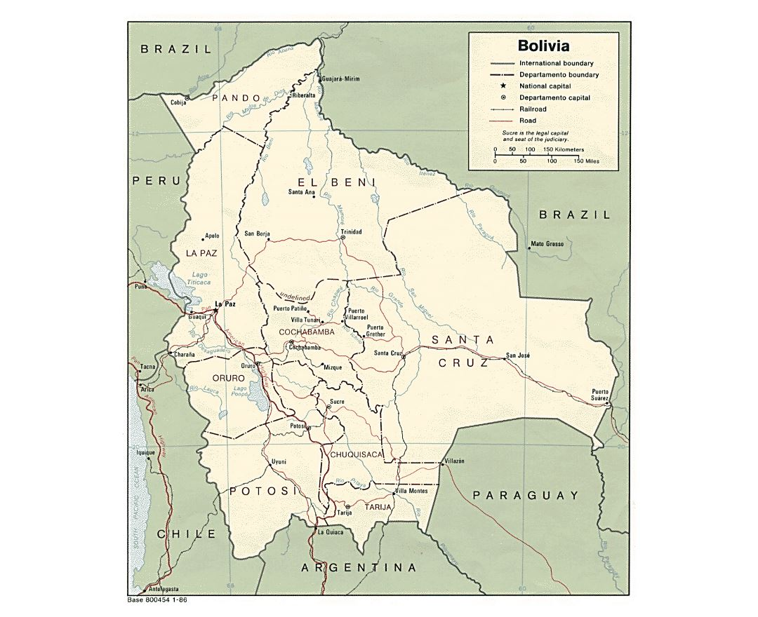 Large political and administrative map of Bolivia with roads and major cities - 1986