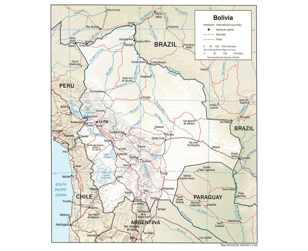 Large political map of Bolivia with relief, roads and major cities - 2006