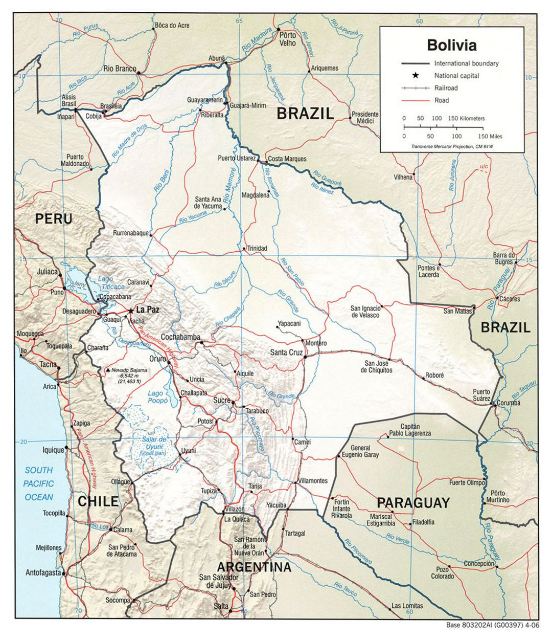 Large Political Map Of Bolivia With Relief Roads And Major Cities