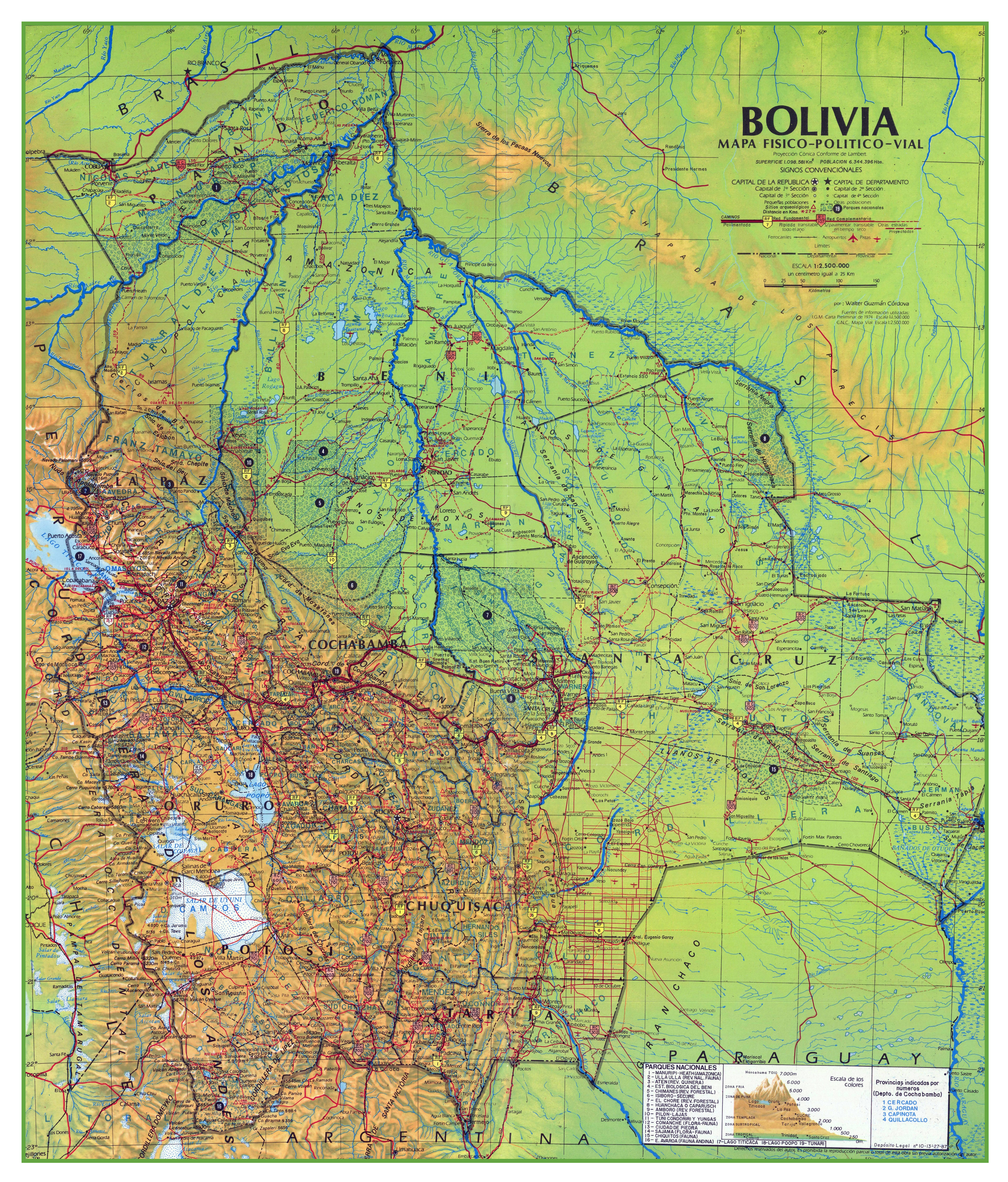 Large Scale Physical And Political Map Of Bolivia With Roads Cities