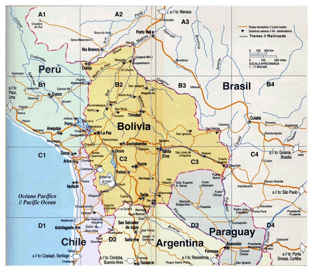 Map of Bolivia | Bolivia | South America | Mapsland | Maps of the World