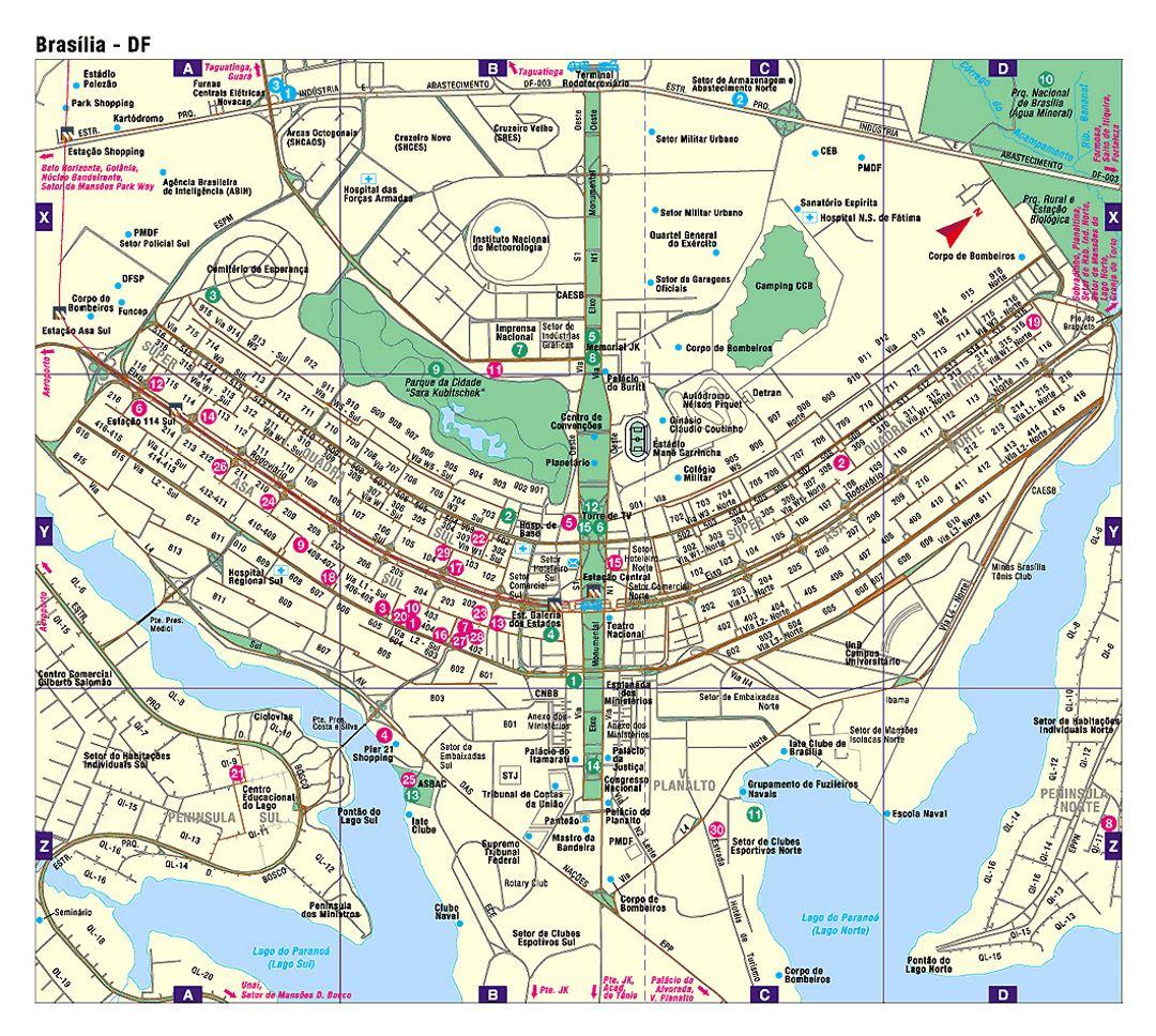 Detailed road map of Brasilia Brasilia Brazil South America