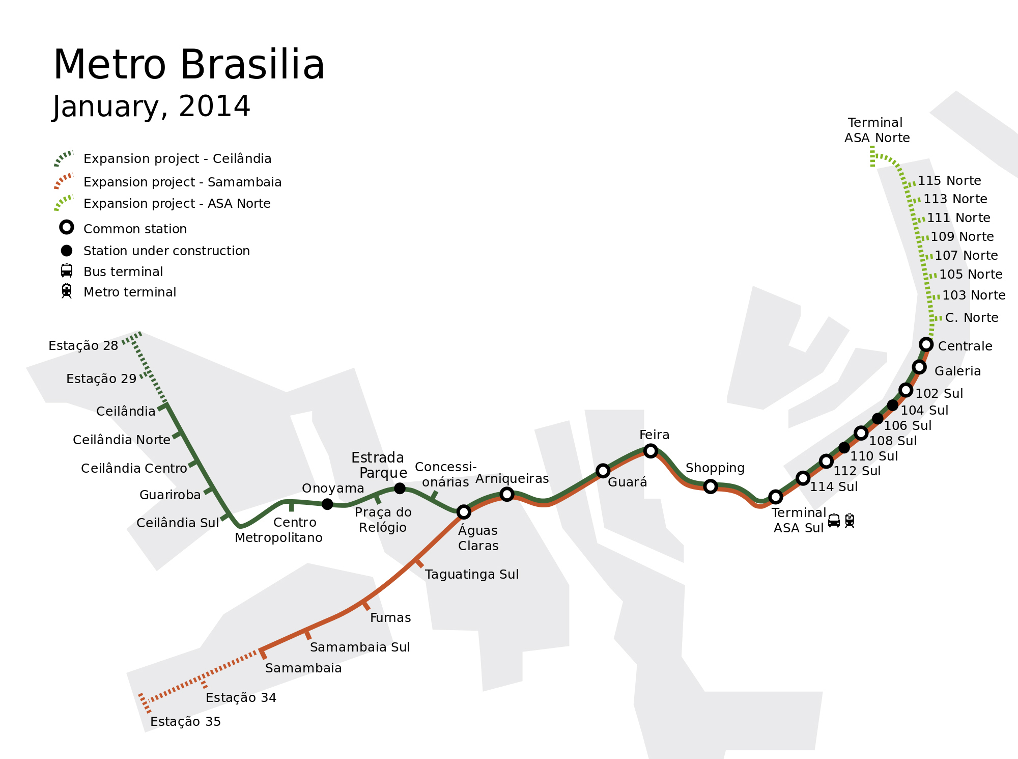 Large detailed metro map of Brasilia Brasilia Brazil South
