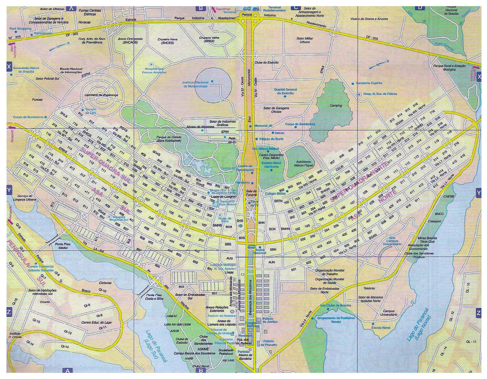 Large road map of Brasilia city Brasilia Brazil South
