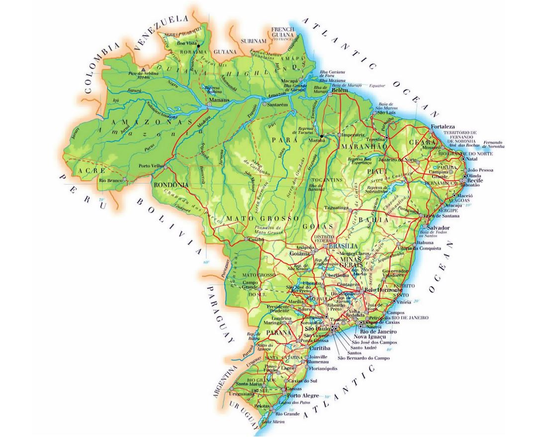 Detailed elevation map of Brazil with cities, roads and airports