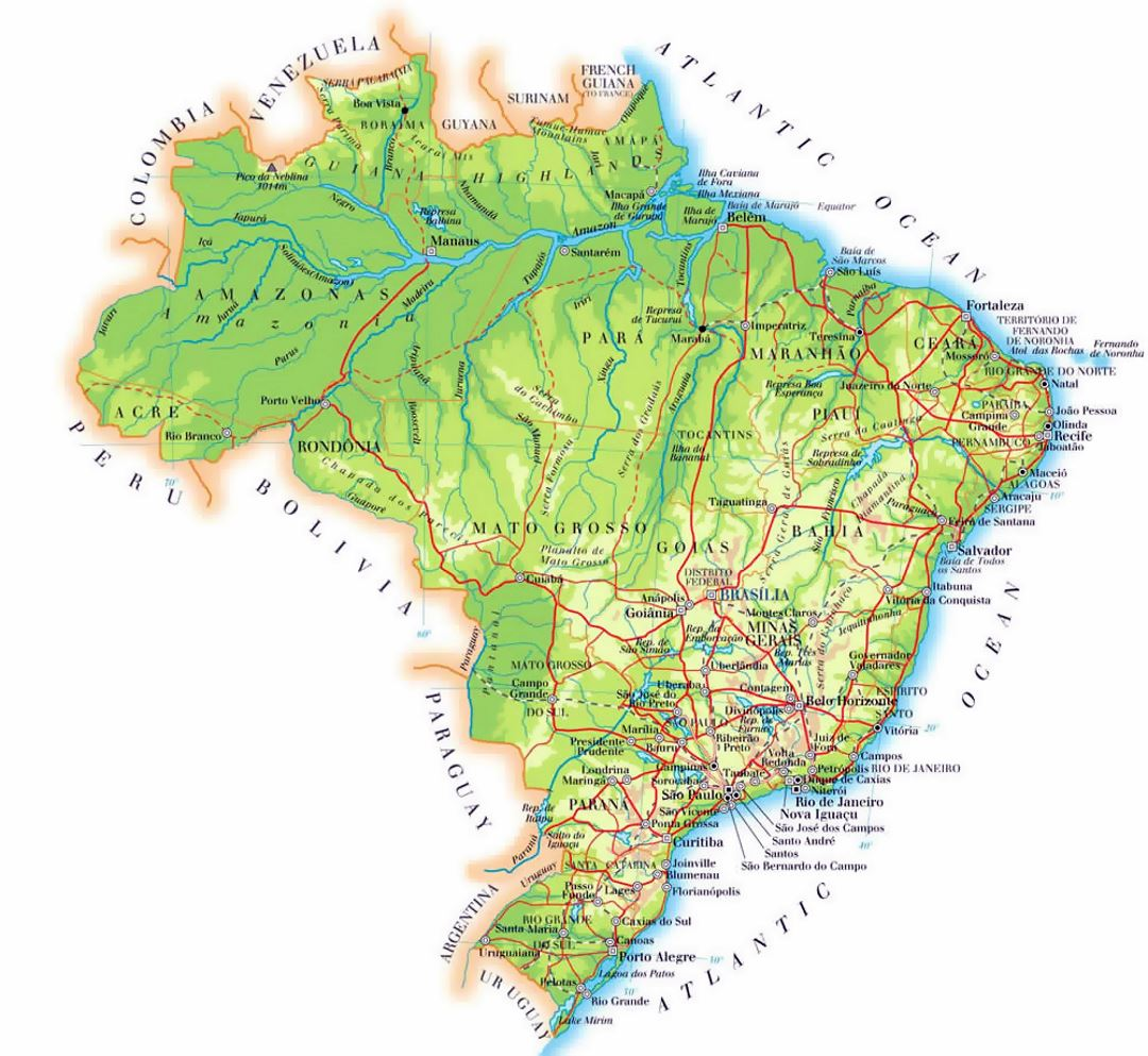 Detailed Elevation Map Of Brazil With Cities Roads And Airports - World elevation map