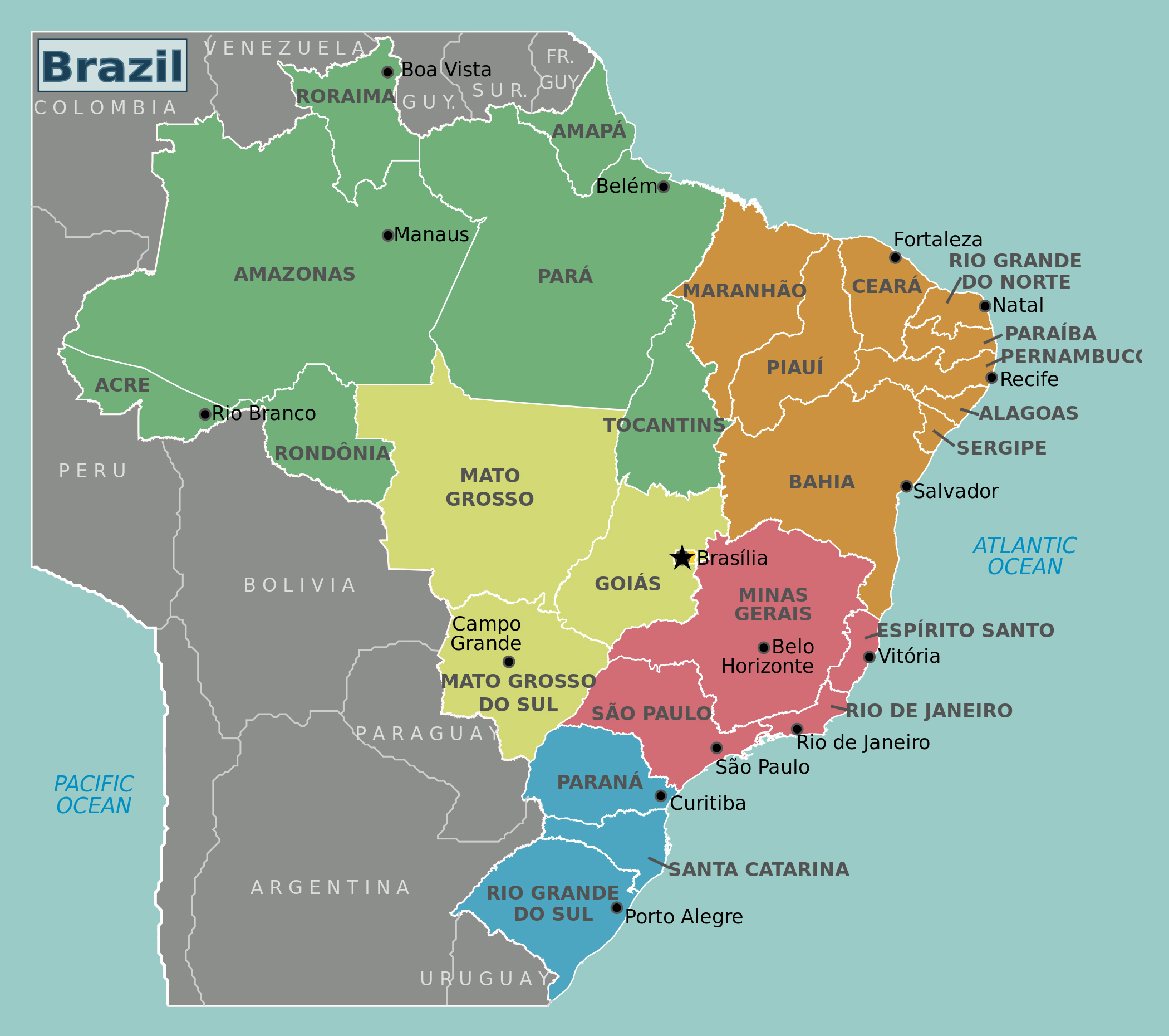 Large Brazil regions map Brazil South America Mapsland Maps