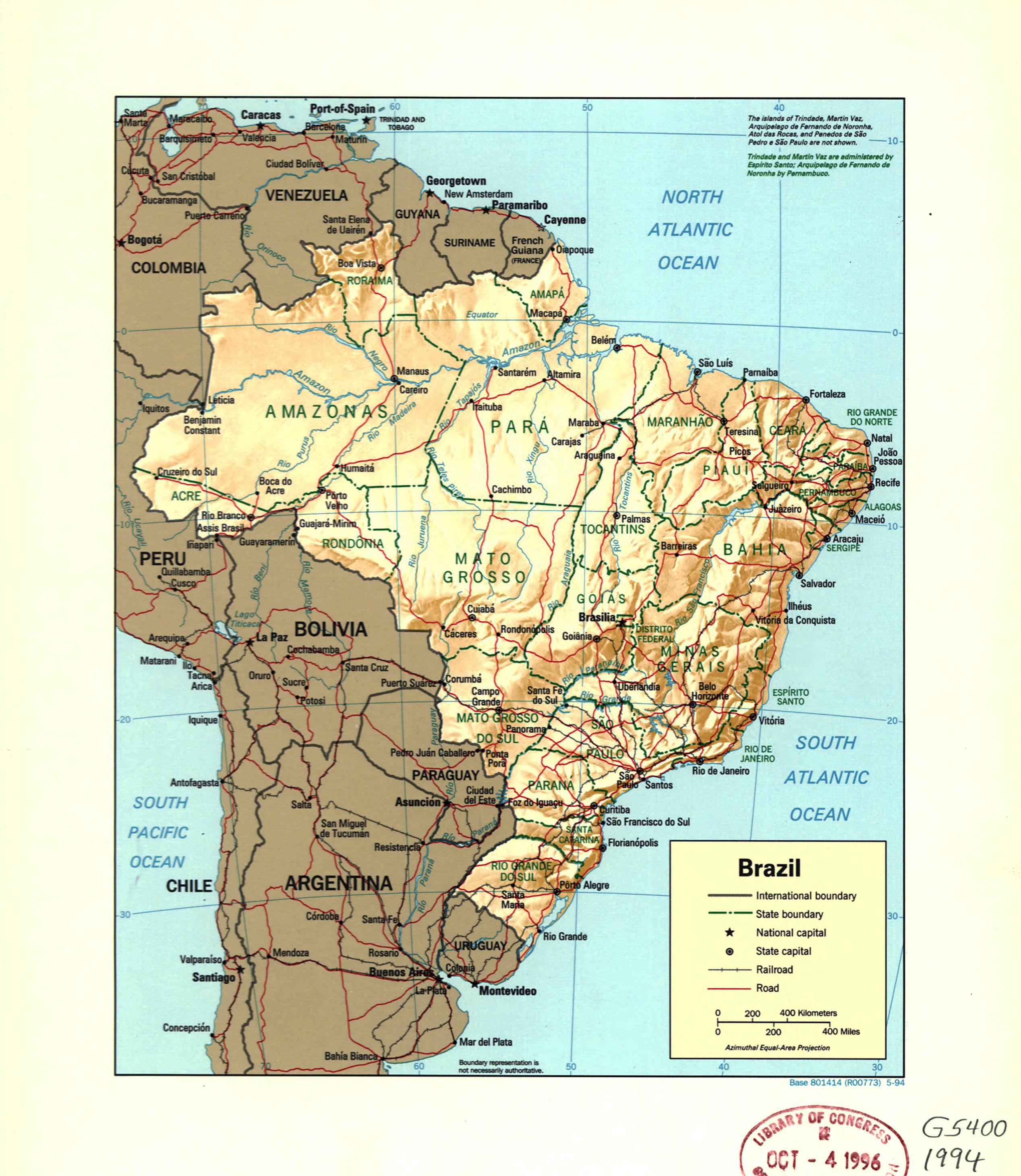 Large detail political and administrative map of Brazil with ...