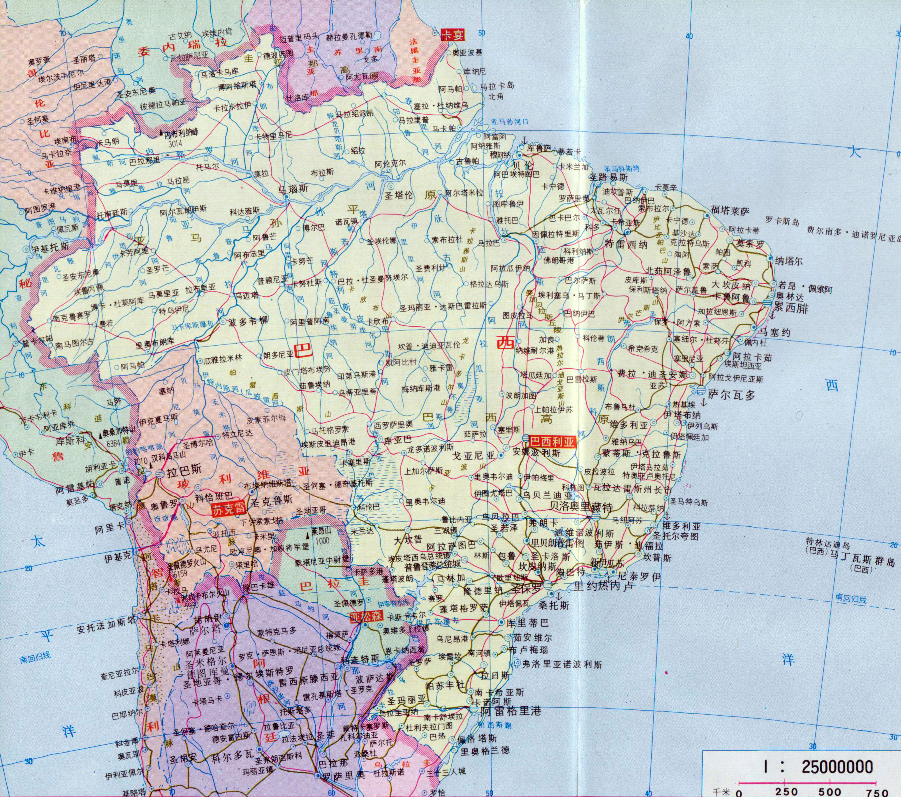 Large Detailed Map Of Brazil With Roads And Cities In Chinese - Map of brazil with cities