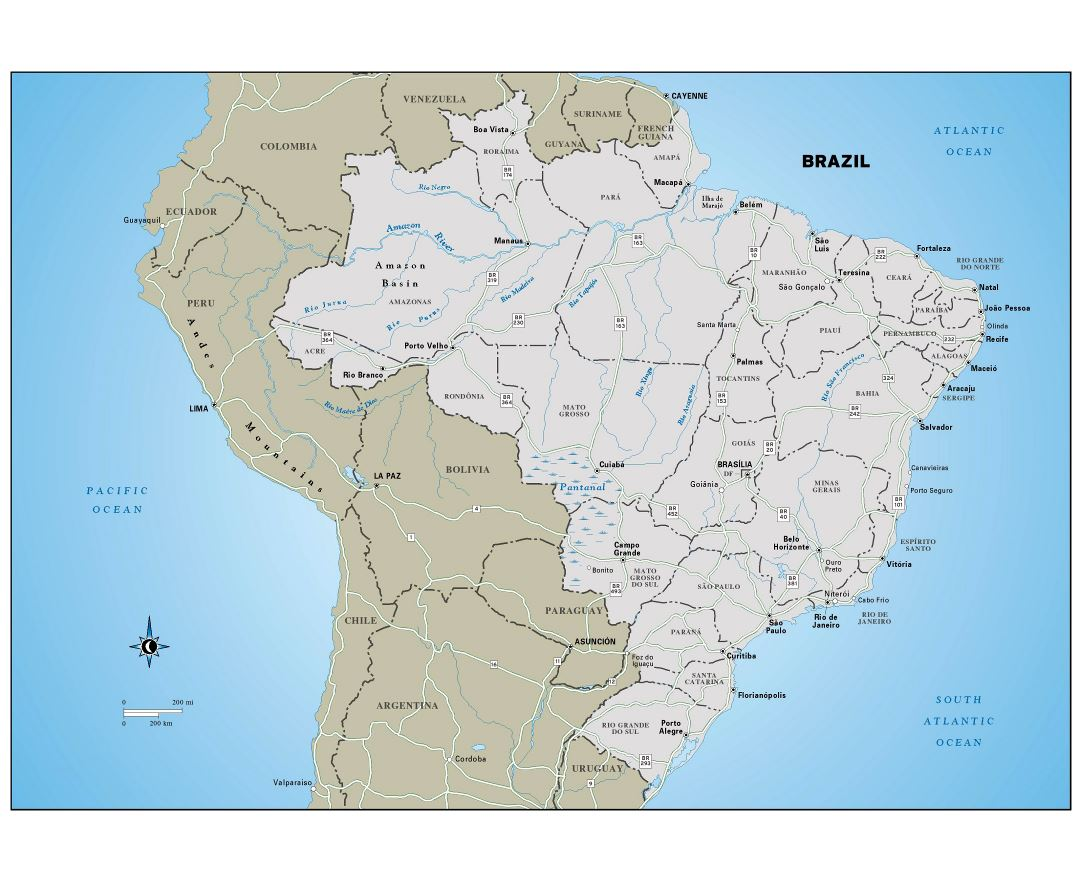 Large detailed political and administrative map of Brazil with highways and major cities